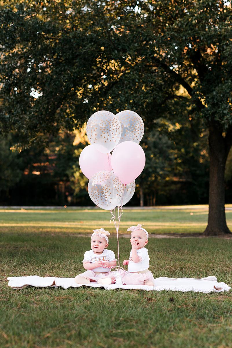 Pink balloons baby girl bennett brown photography Houston Texas