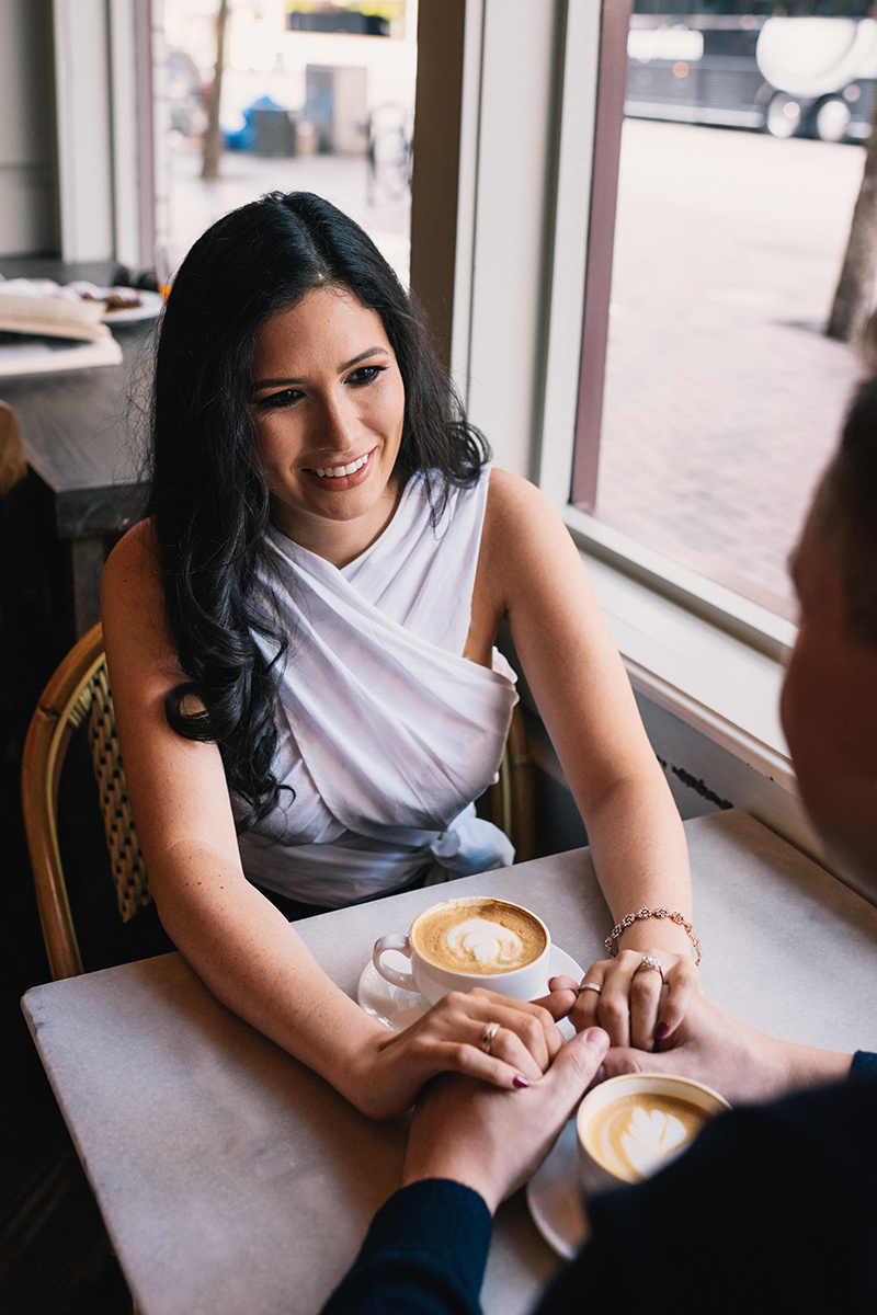 Houston Texas Engagement Bride Latte Coffee shop Wedding photography