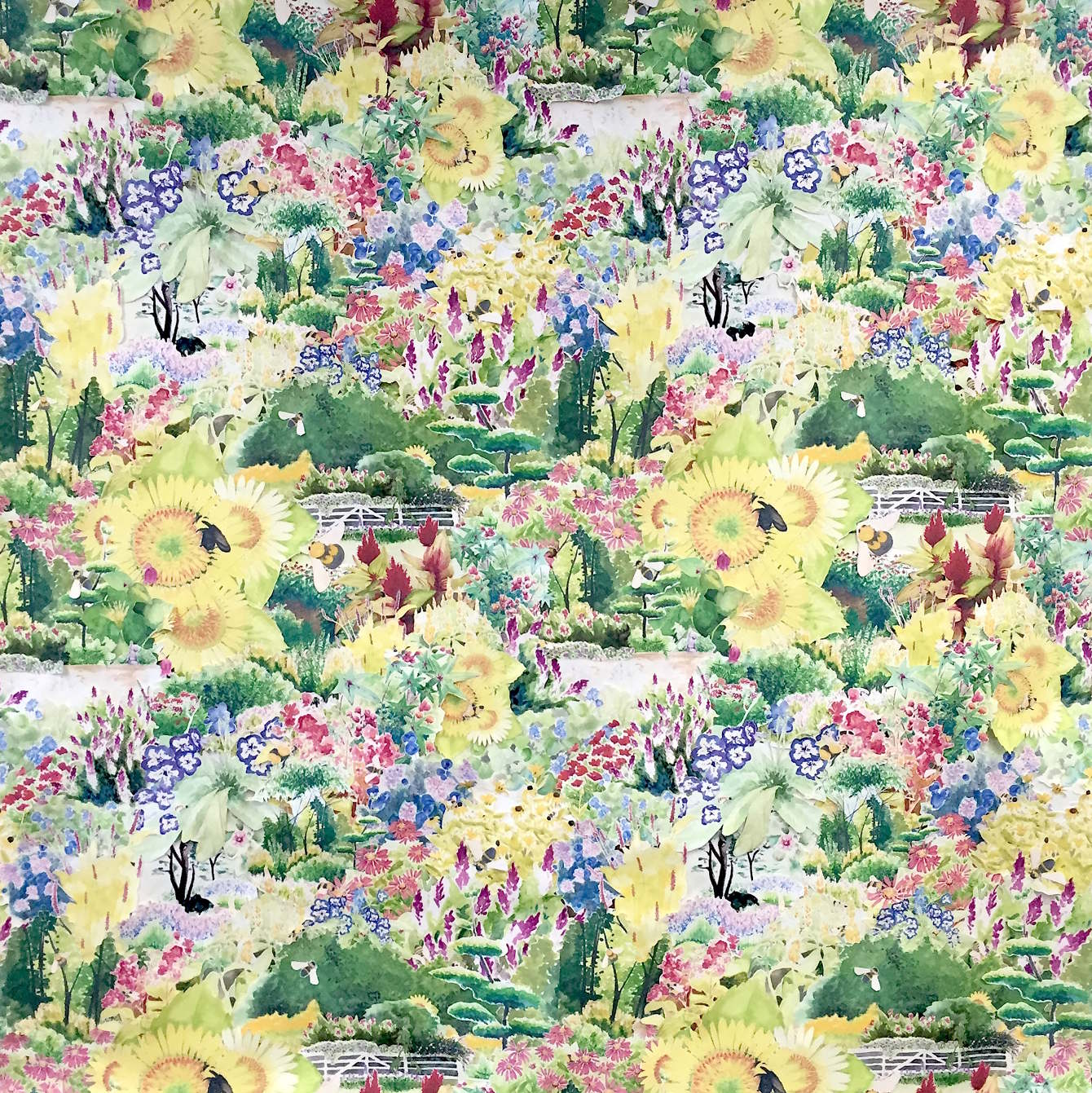 """""""Wild Countryside"""" 8ft by 8ft, scans of original watercolor illustration collaged into a two by two repeat"""
