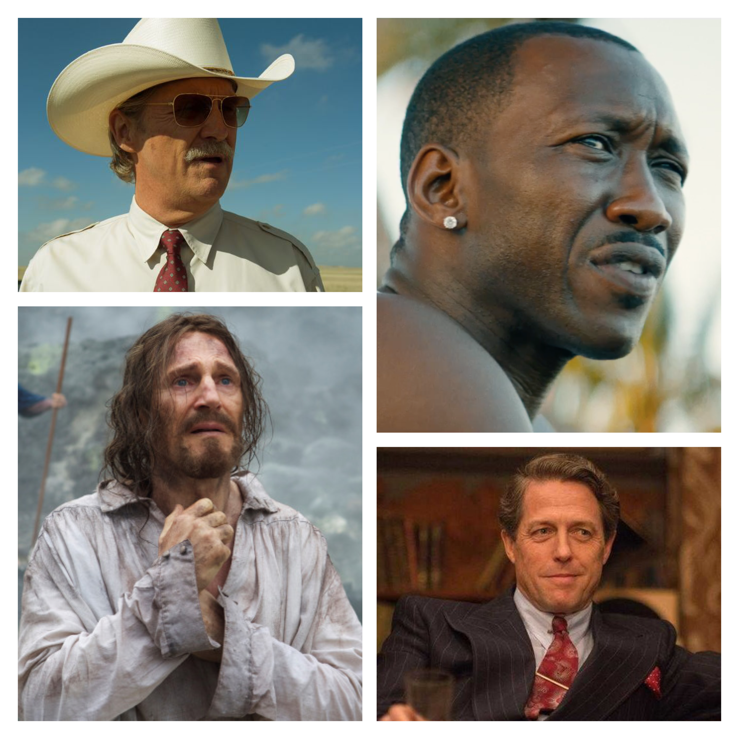 Jeff Bridges,  Hell Or High Water ; Mahershala Ali,  Moonlight ; Liam Neeson,  Silence ; Hugh Grant,  Florence Foster Jenkins