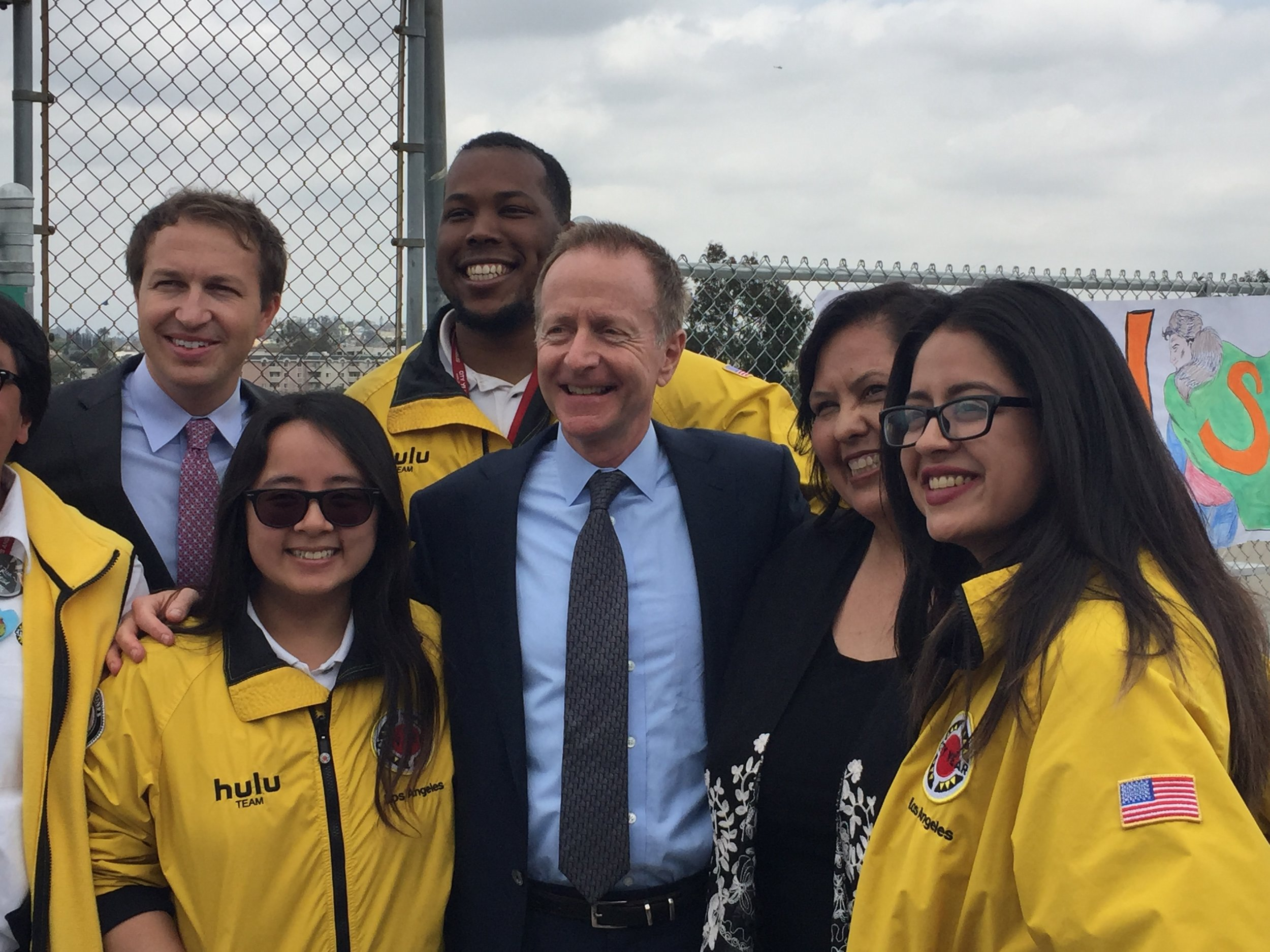 LAUSD's new superintendent Austin Beutner flanked by City year LA volunteers, Board President Monica Garcia and Vice President Nick Melvoin Wednesday at Belmont High