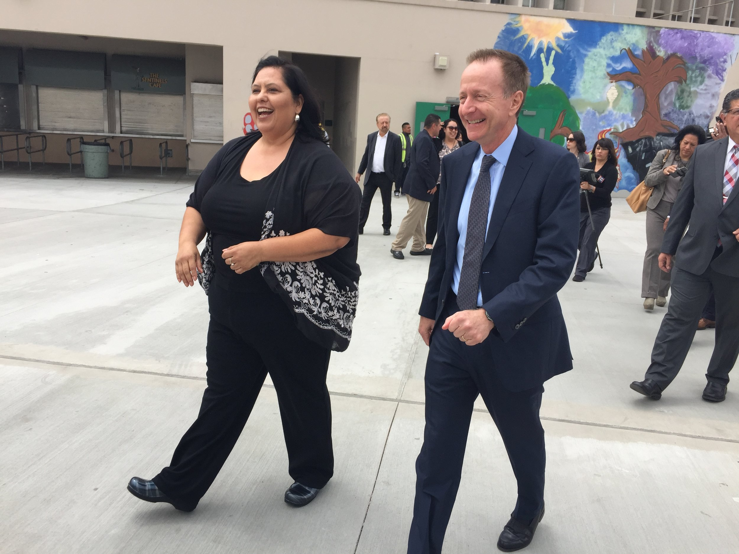 LAUSD Board President Monica Garcia and Superintendent Austin Beutner at Belmont High