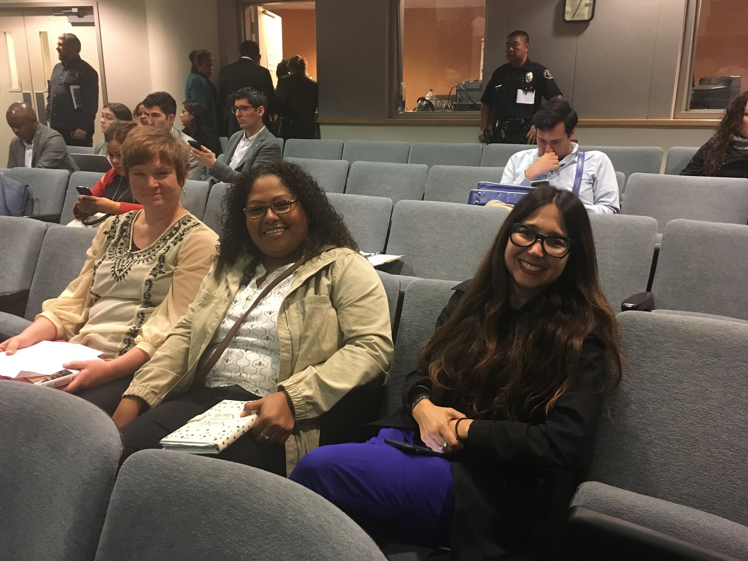 Speak UP parents Anna Parks (left), Sheyla Menzie and Lisa Mosko call on the new superintendent to work with parents and hear our concerns
