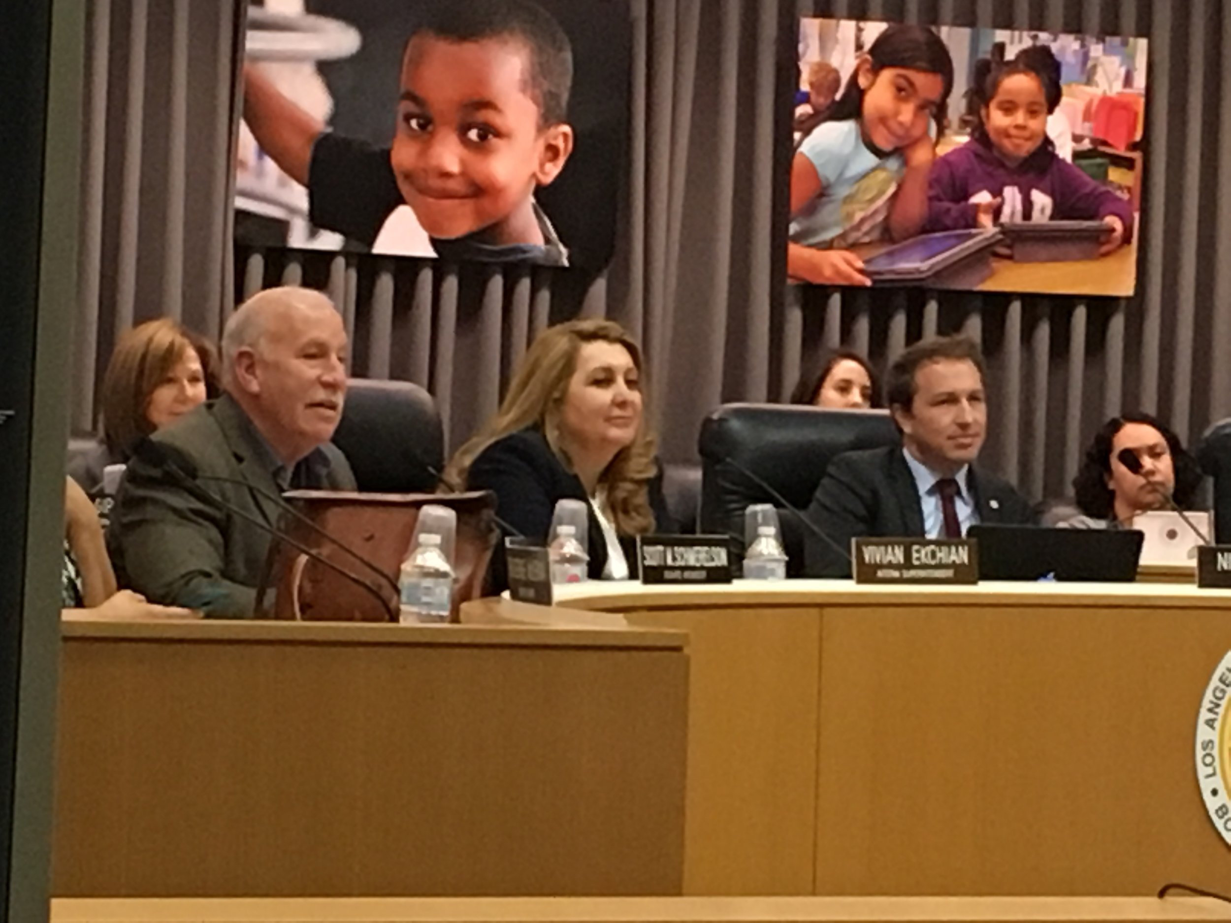 LAUSD Board Member Scott Schmerelson (left), former Interim Superintendent Vivian Ekchian and Board VP Nick Melvoin