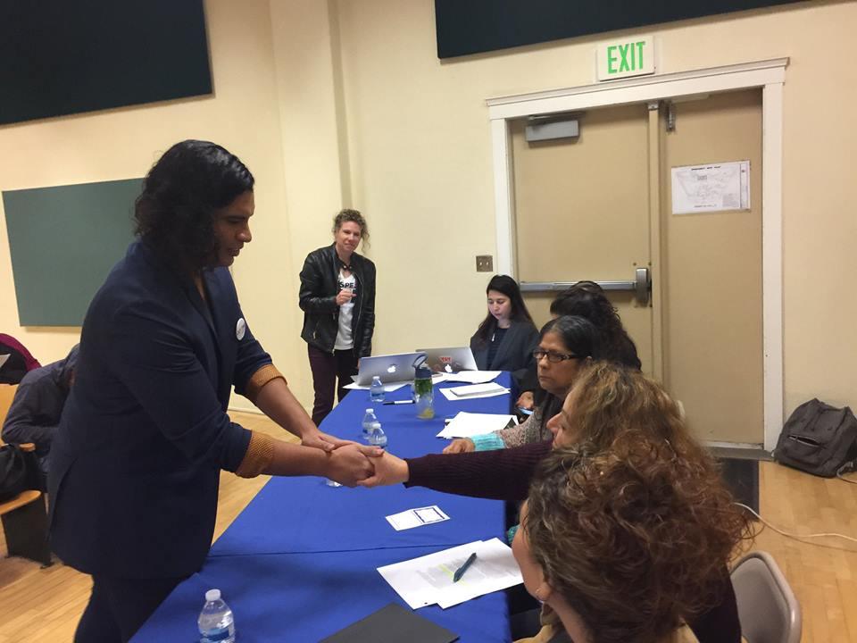 Justine Gonzalez greets Speak UP's BD5 parent panelists