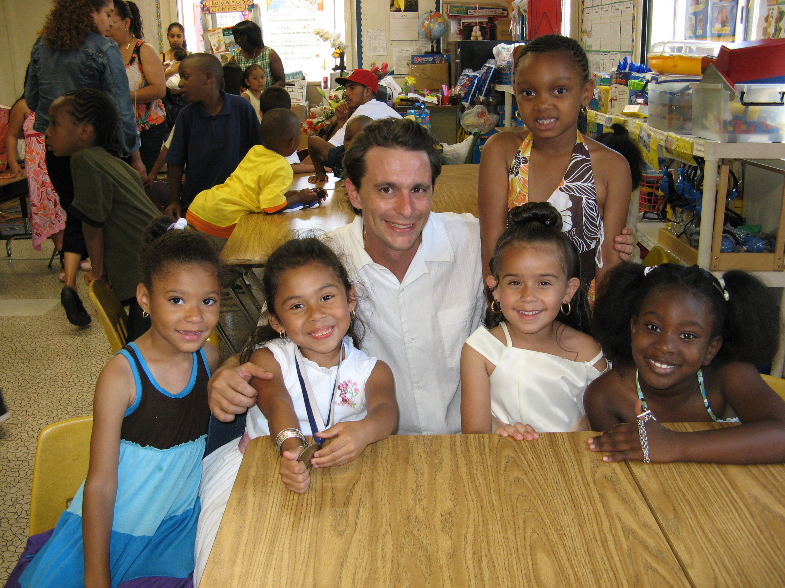LAUSD magnet parent Michael Sweeney with his former students when he was a classroom teacher at a charter school