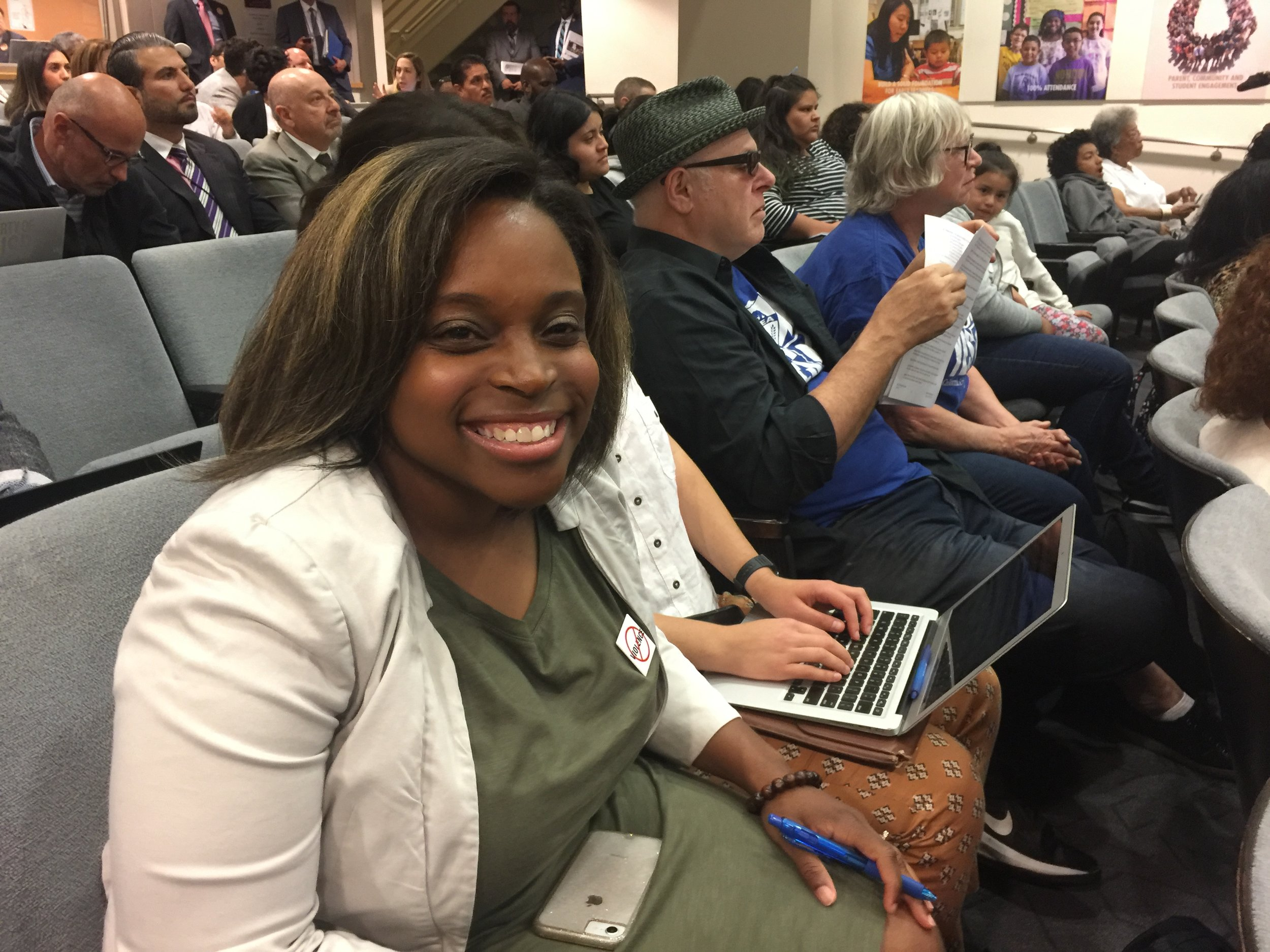Parent Tunette Powell Testified In Favor of McKenna's resolution but successfully pushed for more parent input.