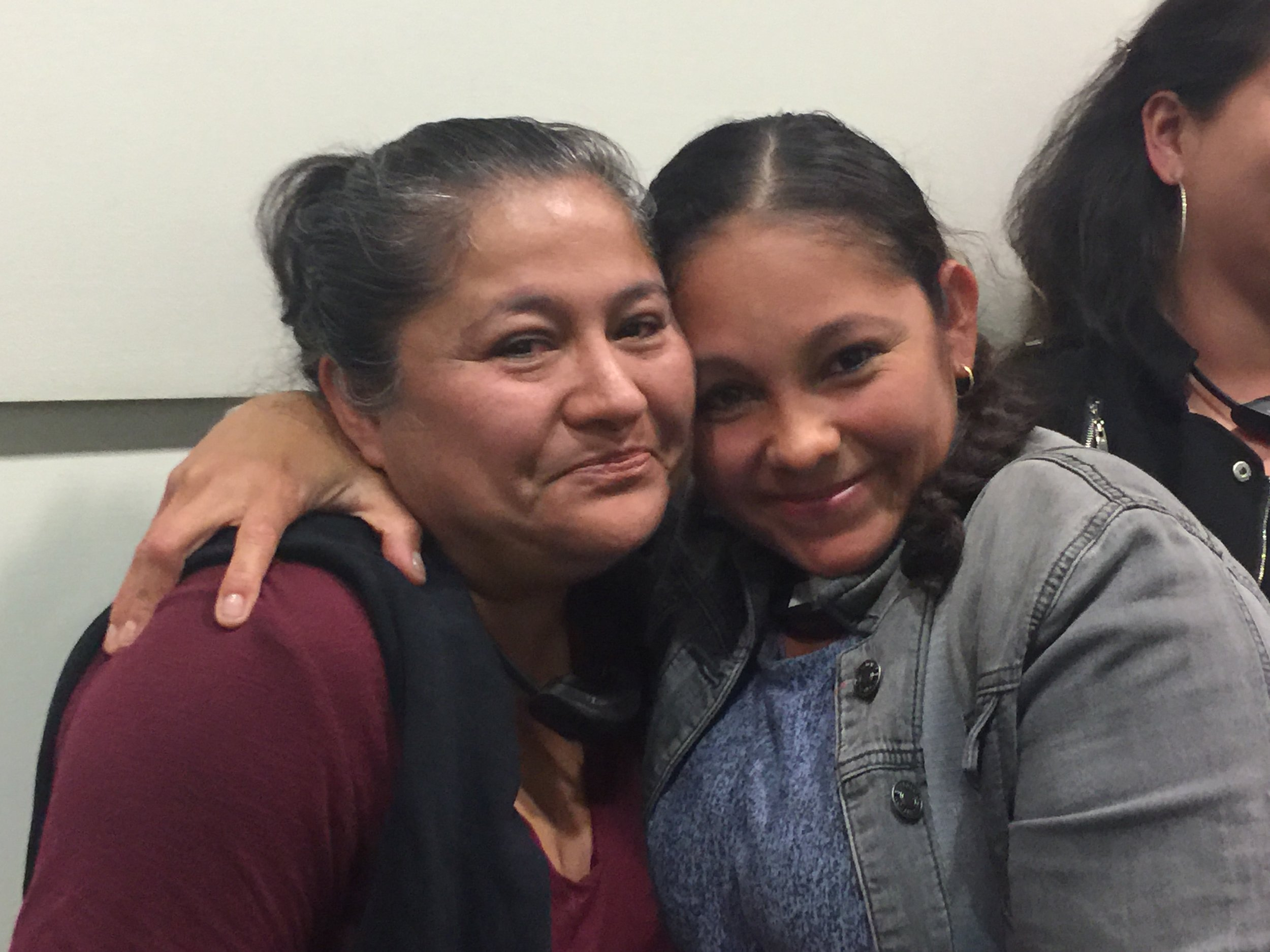 Soralia Castro (left) with Griselda Rauda. Soralia took her child out of the school.