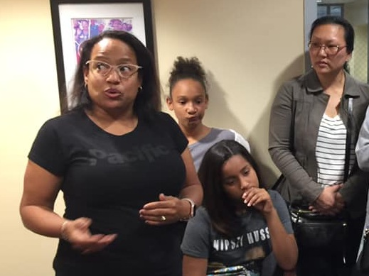 Tinisha Briley Landry of Inglewood (left) was one of 30 Speak UP parents and students who visited Assembly Member Autumn Burke's office Friday to protest the passage of AB 1505, a bill that would take away quality school options for families. The bill now heads to the state Senate.