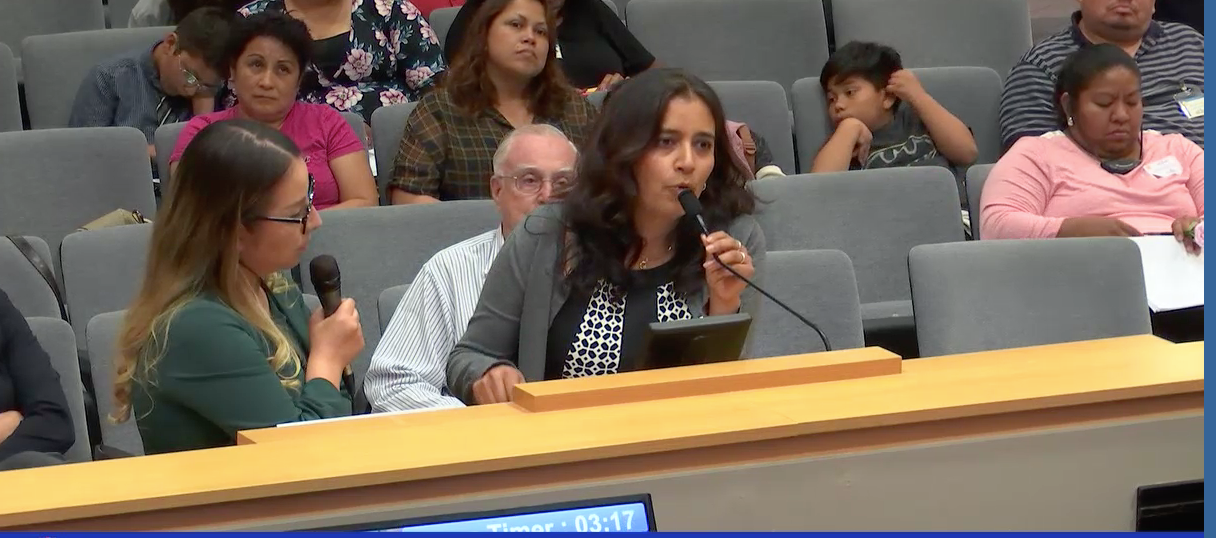 Parent Diana Guillen Addresses the board during the LCAP hearing
