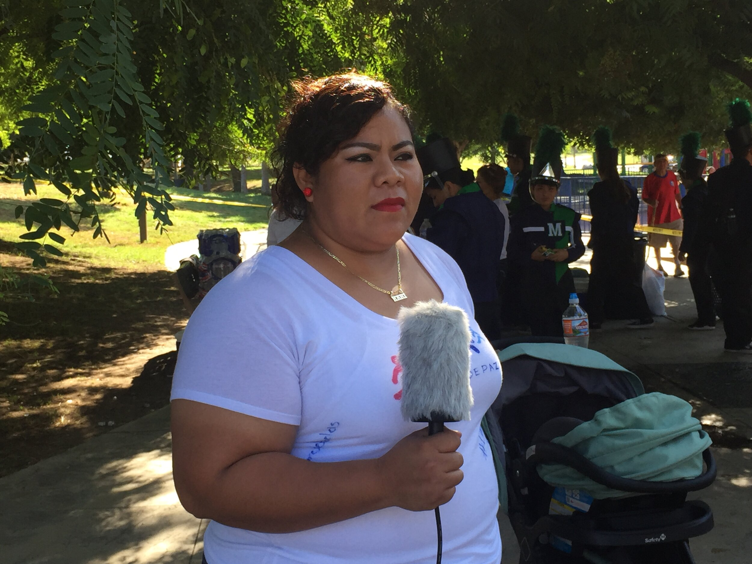 Parent Magda Vargas attended Speak UP's Peace Walk Saturday to call for an end to hostility against immigrant families.