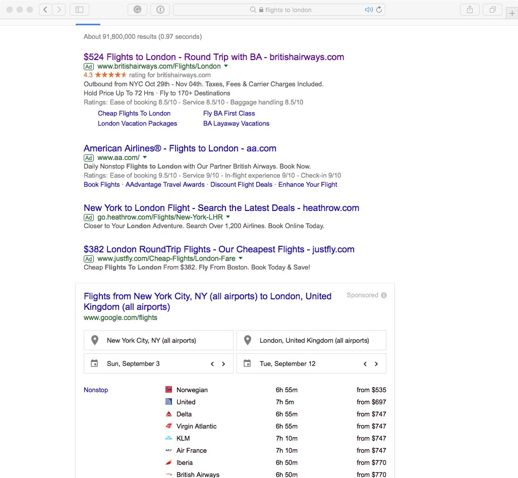 BA vs Google Flights in Search Engine Results Page (Click to Enlarge)