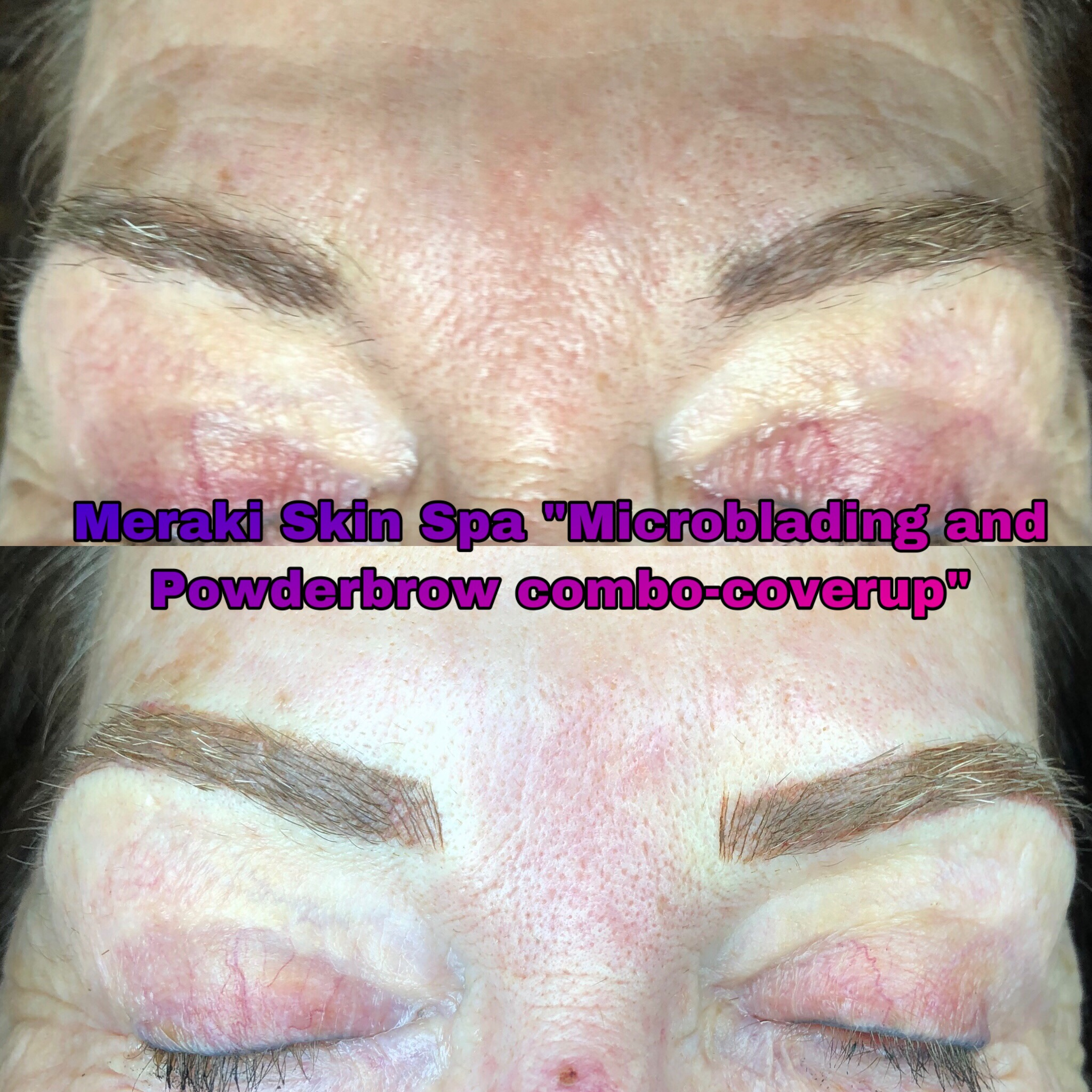 alt text 3 year coverup, microblading-powderbrow combo-permanent tattooed eyebrows meridian idaho