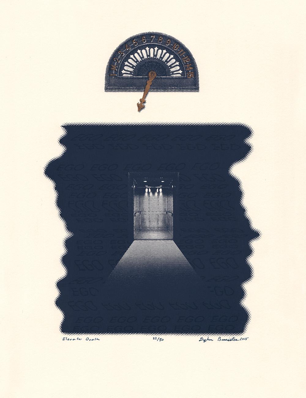 "<i>Elevator Death</i><br>Silkscreen Print<br>10"" x 13""<br>2015"
