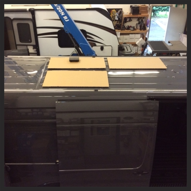 layout with space for an additional panel down the road. The black box is the junction where the panels will feed into the van.
