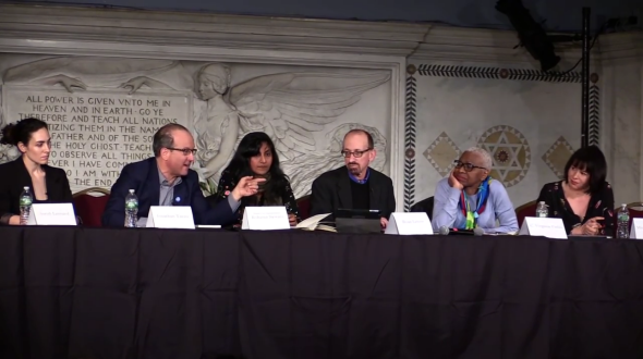 From left: Sarah Leonard, Jonathan Tasini, Kshama Sawant, Brian Lehrer, C. Virginia Fields, and the author at Judson Memorial Church in New York City on Saturday.