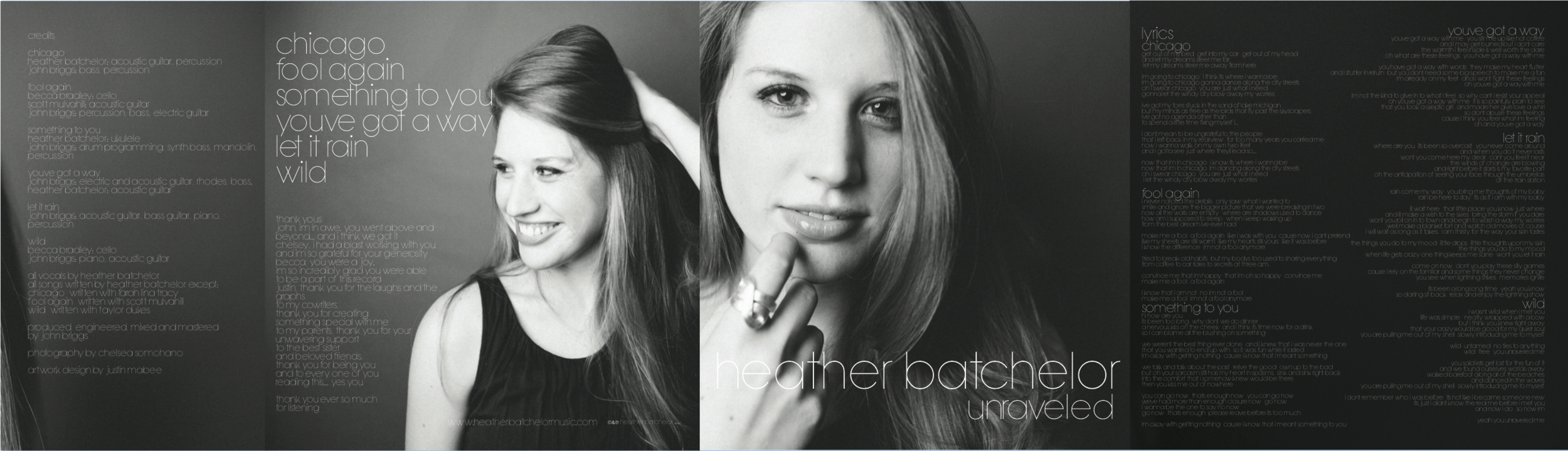 CD Album Artwork for Heather Batchelor, made with Adobe Illustrator and Adobe Photoshop
