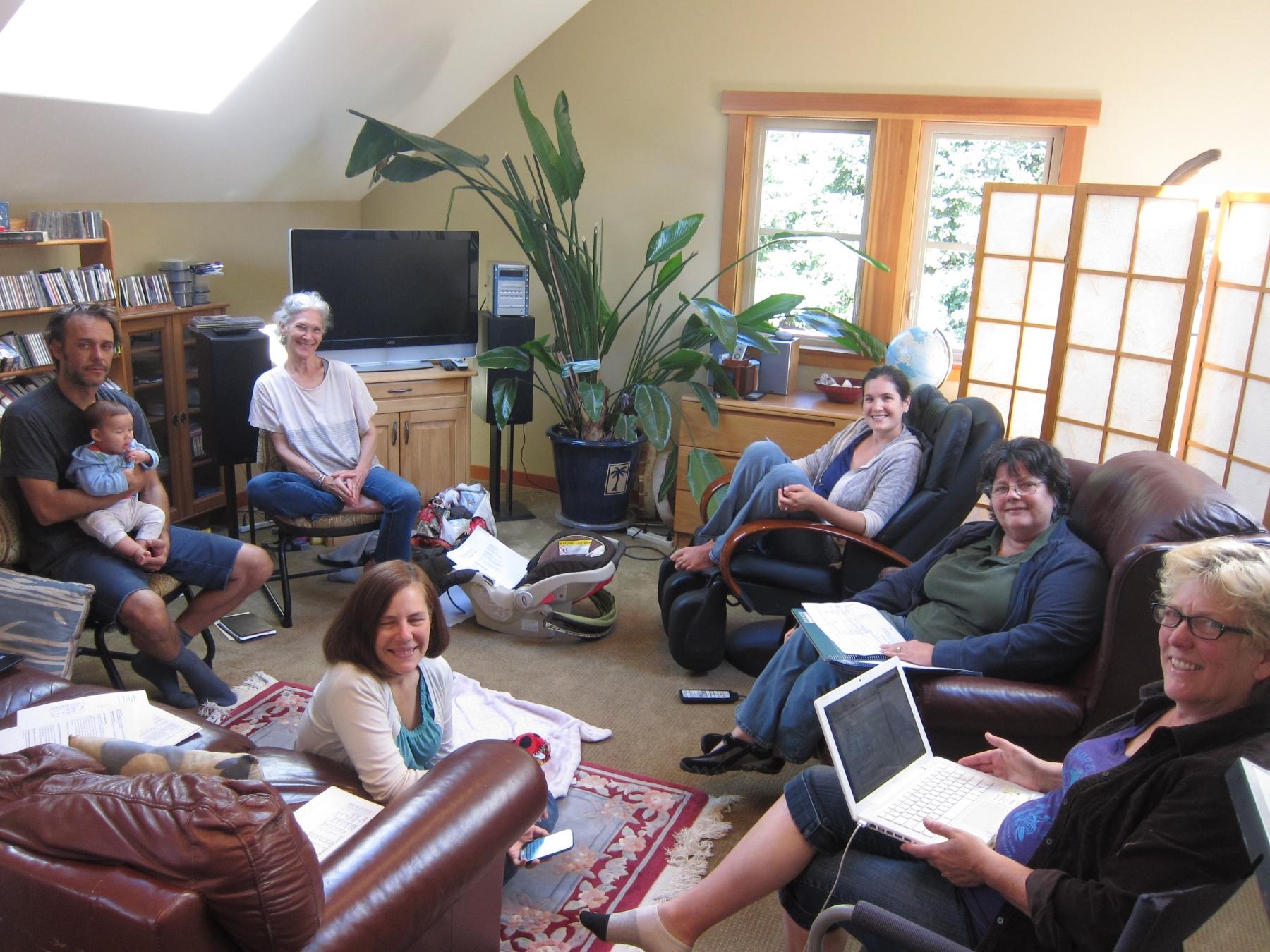 LIFE Board meeting, 2015  From left: Tom Phillips (pictured holding baby); Laura Winds; Tess Winds-Johnson, Diane Harper; Jennifer Bernard; Julie Hunter.