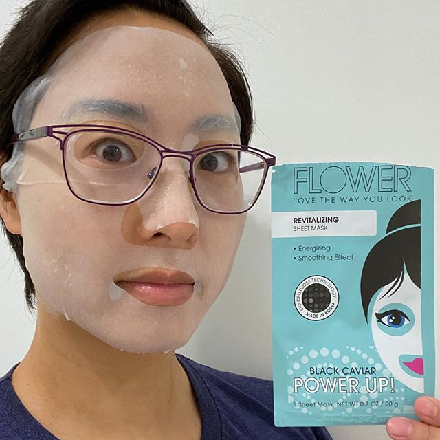 Flower Beauty Power Up! Revitalizing Sheet Mask Notable ingredients: Niacinamide & sodium hyaluronate. Sea water, caviar extract & hydrolyzed collagen were listed after the preservative so you're probably not getting a lot of those ingredients. Material & fit: This is made of a super soft cottony material and adheres without creasing. They call it bio cellulose, but it's not the jelly-like material at all. Extra packaging: none Scent: floral scent but I didn't smell anything once it was applied. Made in: Korea Time: 25 minutes Results: Hydrating and vitalizing, my cheeks had that rosy glow! Like I just went on a brisk run... except this powerlifter doesn't run. Price & where to buy: $1 from @flowerbeauty, they're normally $4 but they're discounted because mine expires at the end of 2019. #rasianbeauty #abbeatthealgorithm #sheetmask #sheetmaskselfie #sheetmaskreview #maskreview #maskaddict #maskselfie #skincarereview #kbeauty #asianbeauty #koreanbeauty #koreanskincare #instaskincare #maskaddict_flowerbeauty #flowerbeauty #flowerbeautymask