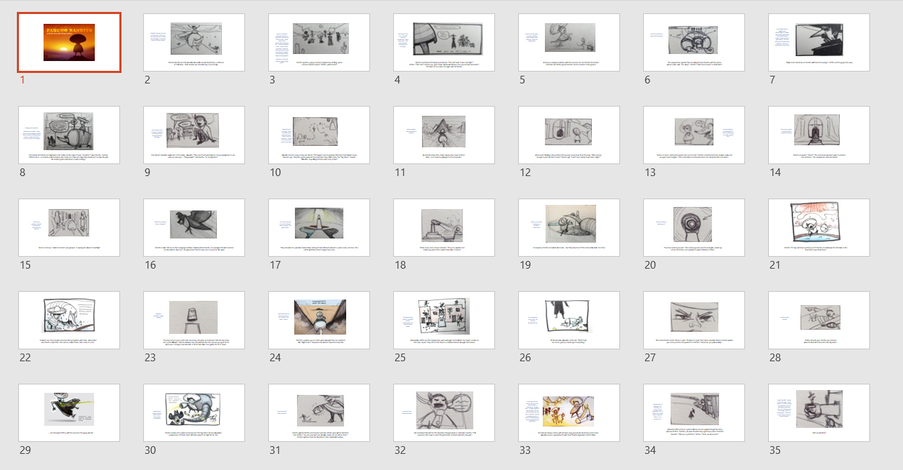 Storyboard sketches arranged sequentially.  I use Powerpoint for this because I'm familiar with the program and it's easy to share PDFs with Mike.