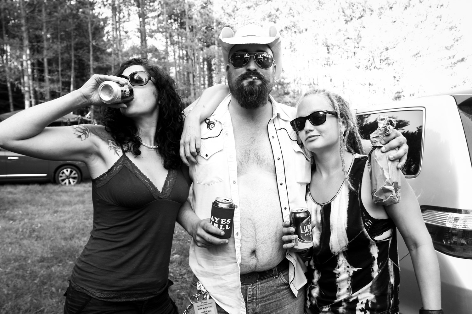 Miss Quincy & The Showdown and Andrew Neville backstage at Trout Forest Music Festival