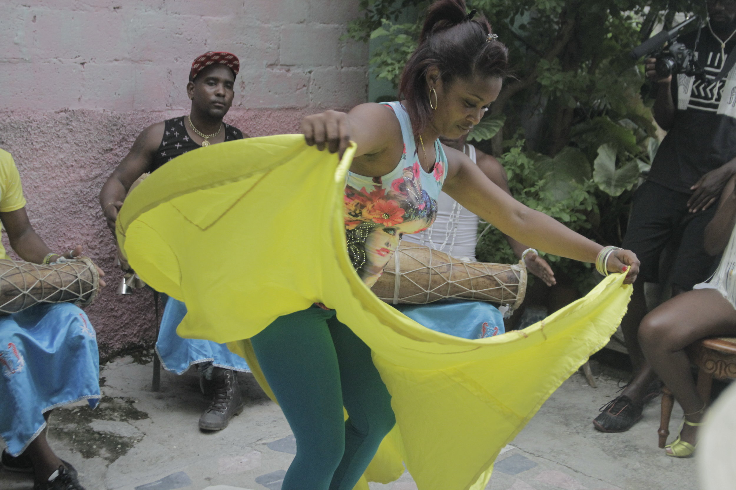 Hosted by Afro-Latino Travel the students explored Afro-Cuban religion, Santeria. Here a dancer embodies an Orisha while the leaders of Afro-Latino travel explained the significance.