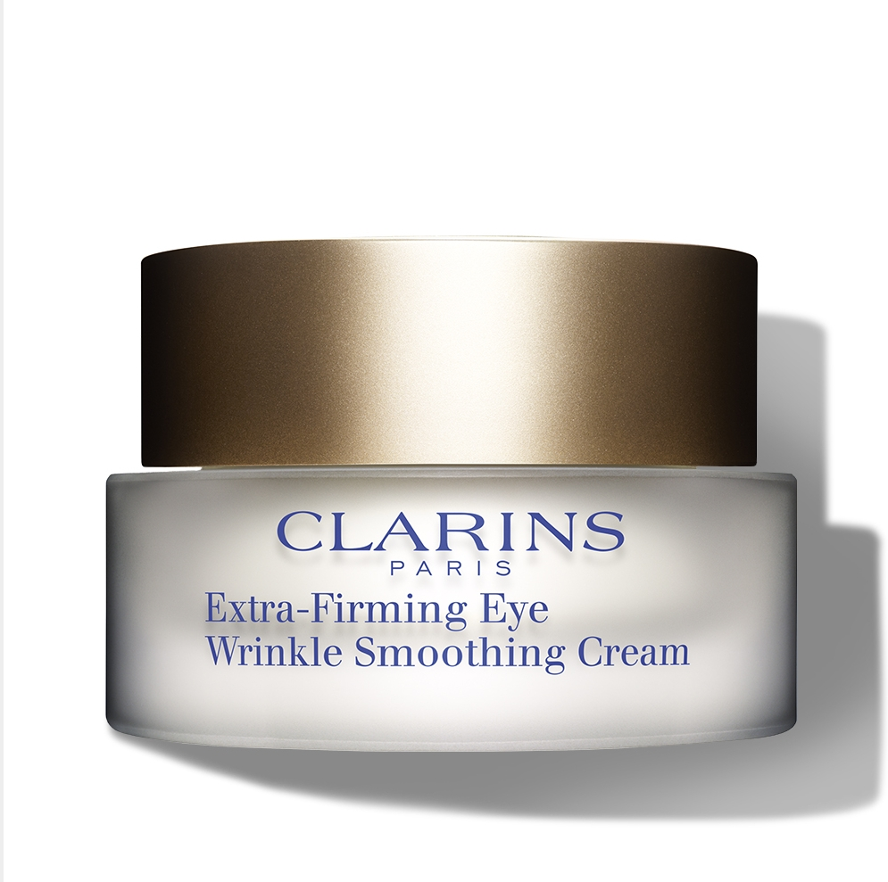 - I have been a devotee of Clarins face creams for a long time and this eye cream is no exception. Natural extracts and Vitamin E help fight those pesky crows feet. Goodbye creased concealer!Photo courtesy of Clarins.