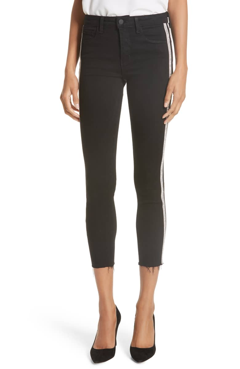 Margot Embellished Side Stripe Crop Skinny Jeans -