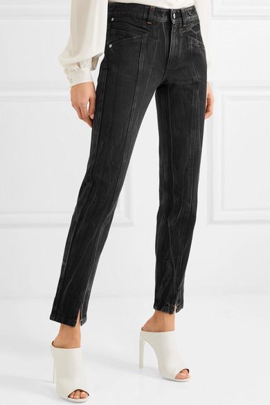 Distressed High-Rise Slim-Leg Jeans -