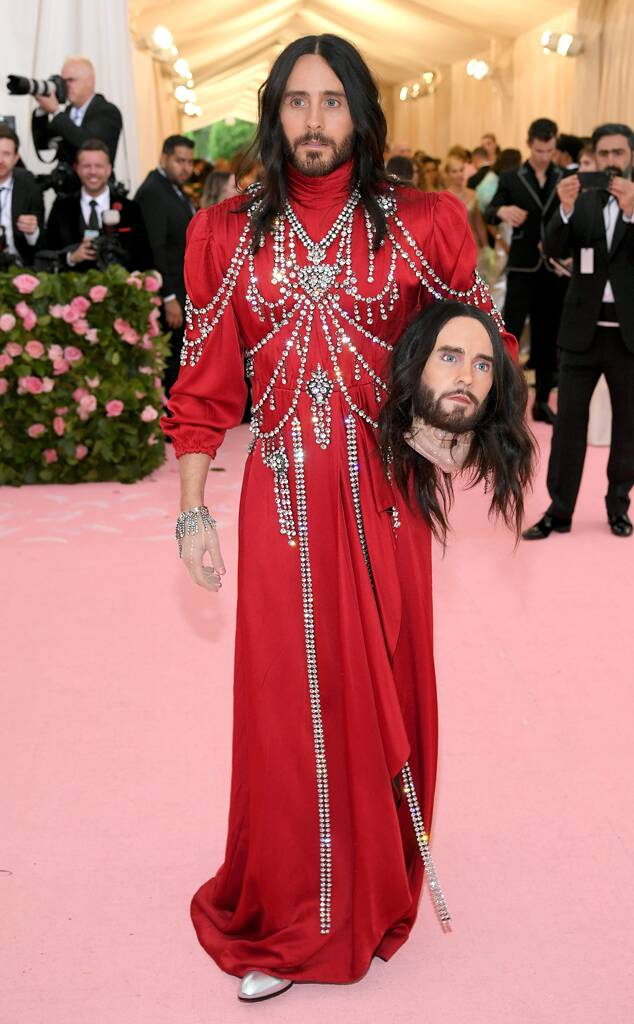 Jared's date was a wax bust of his own head (as seen on  the runway ), flowing locks and all.