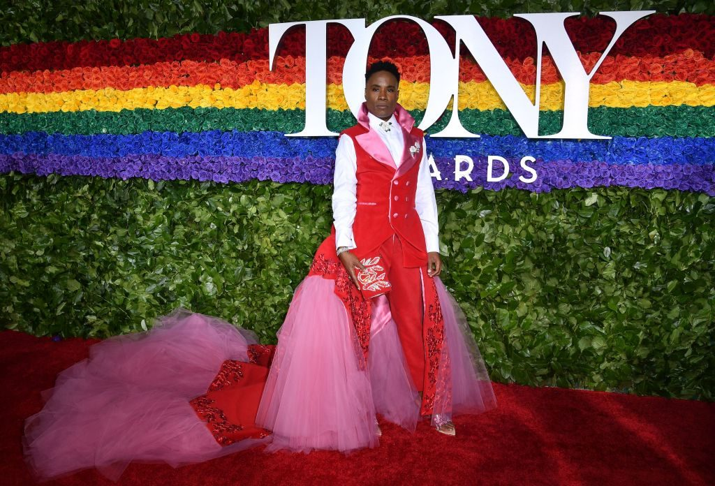 The custom look was made from the curtain backdrop from Porter's time on  Kinky Boots  and intended to resemble a uterus to defend female reproductive rights, a hot button issue right now.