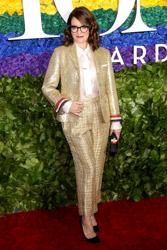 I love a lady in a suit - especially Tina in this metallic number.