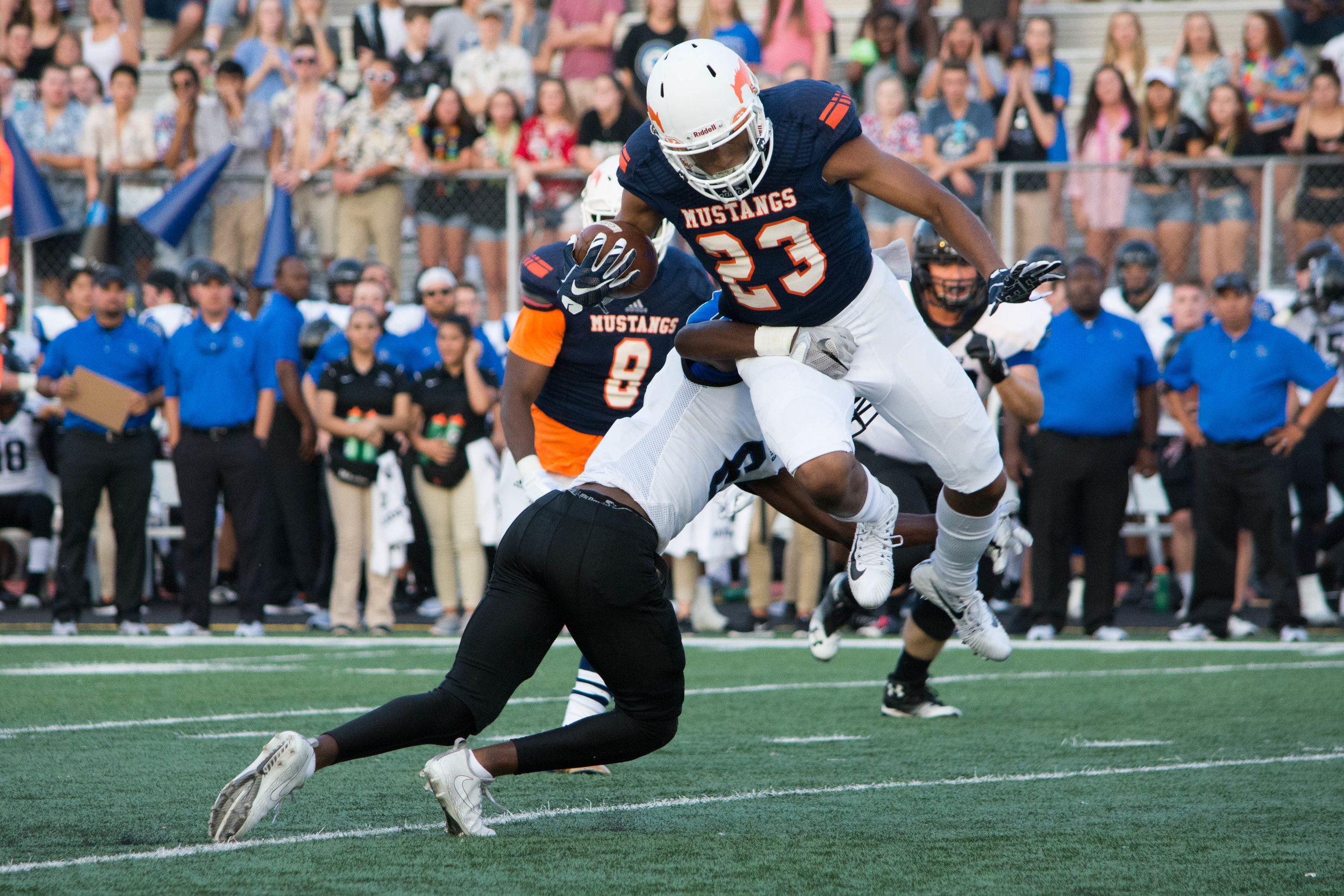 Sachse High School's Isaiah Humphries breaks a tackle after a pick.