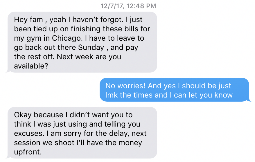 1st time asked about getting paid for the first shoot.