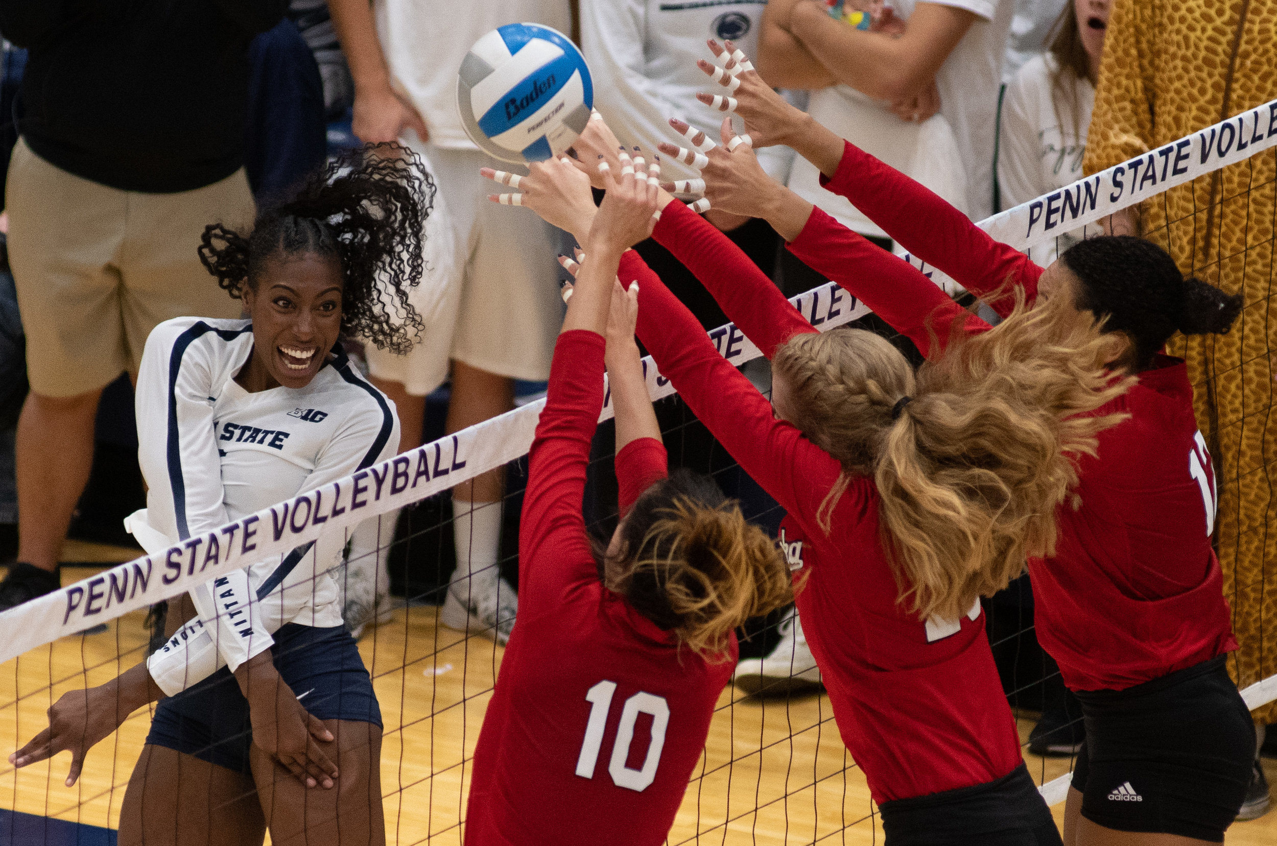 Outside hitter Nia Reed (6) spikes the ball during the game against Nebraska at Rec Hall on Saturday, October 13, 2018. The Nittany Lions defeat Nebraska in 3-2 sets. | Photo by: Noah Riffe