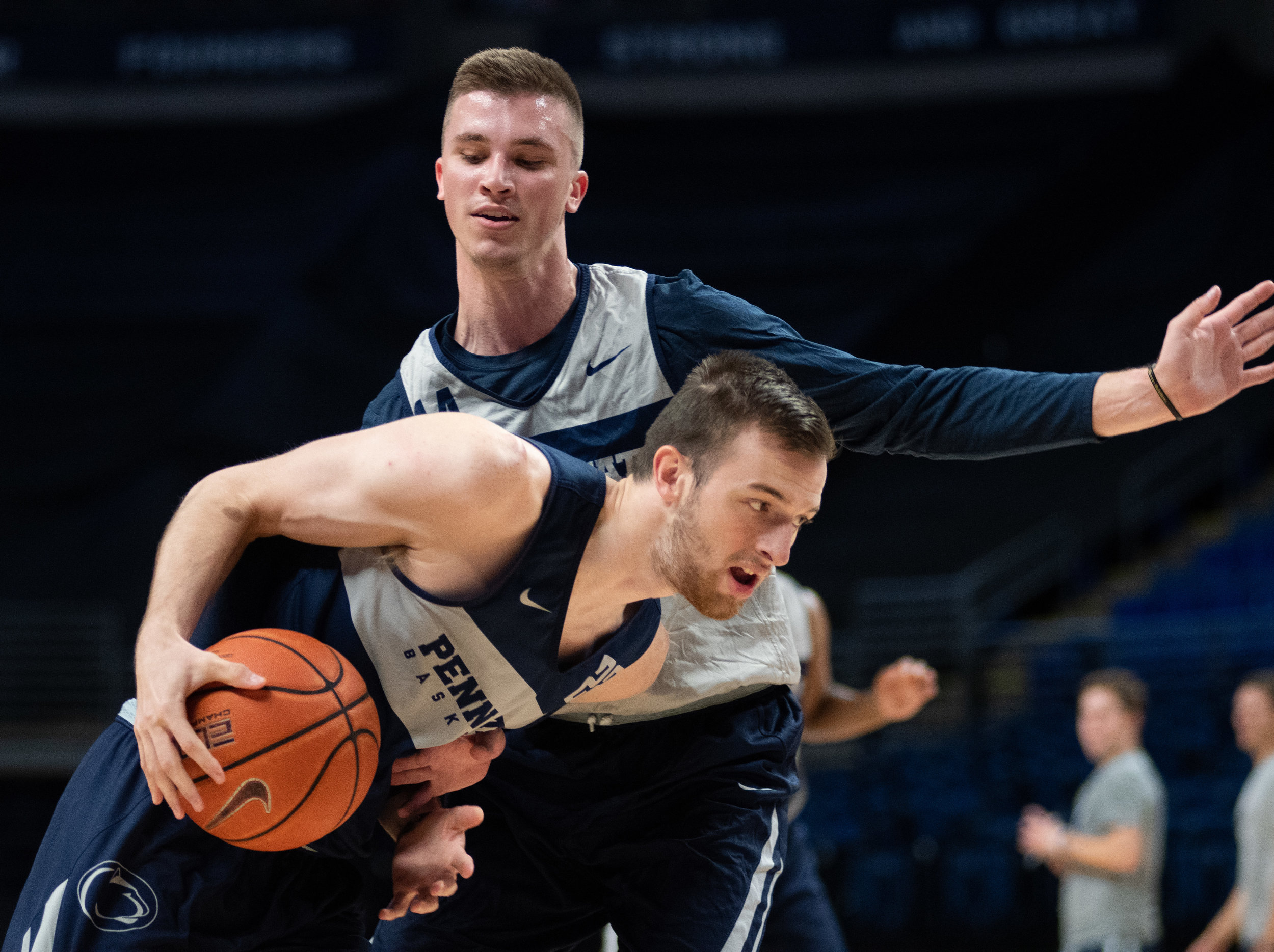 Forward Grant Hazle (22) dribbles during Penn State men's basketball media day at the Bryce Jordan Center on Tuesday Oct. 16, 2018. | Photo by: Noah Riffe