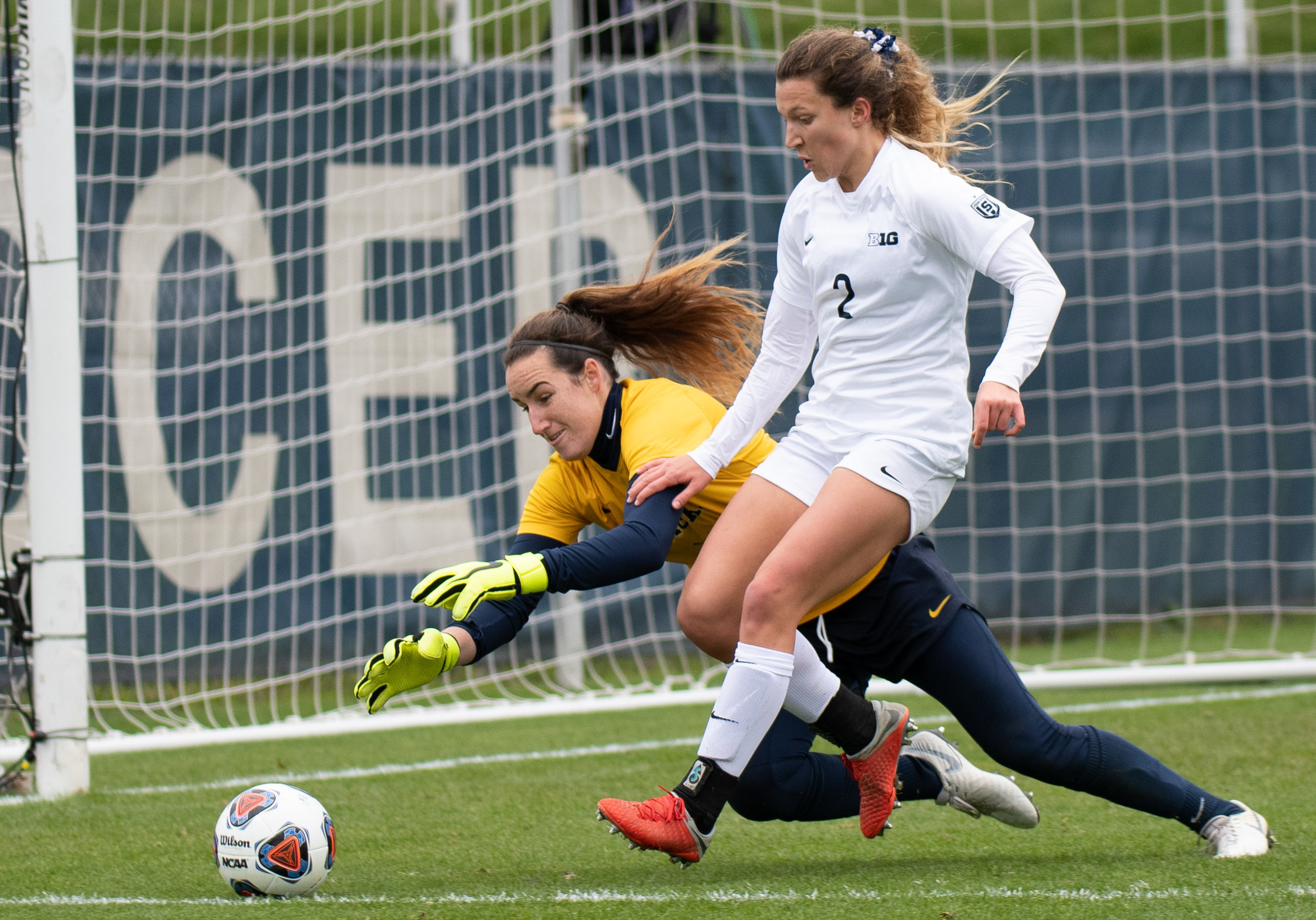 Forward Kerry Abello (2) faces off against the goalkeeper during the Big Ten tournament quarterfinal game against Michigan at Jeffrey Field on Sunday, Oct. 28, 2018. The Nittany Lions defeat Michigan 1-0 and advance to the semifinals of the Big Ten tournament. | Photo by: Noah Riffe