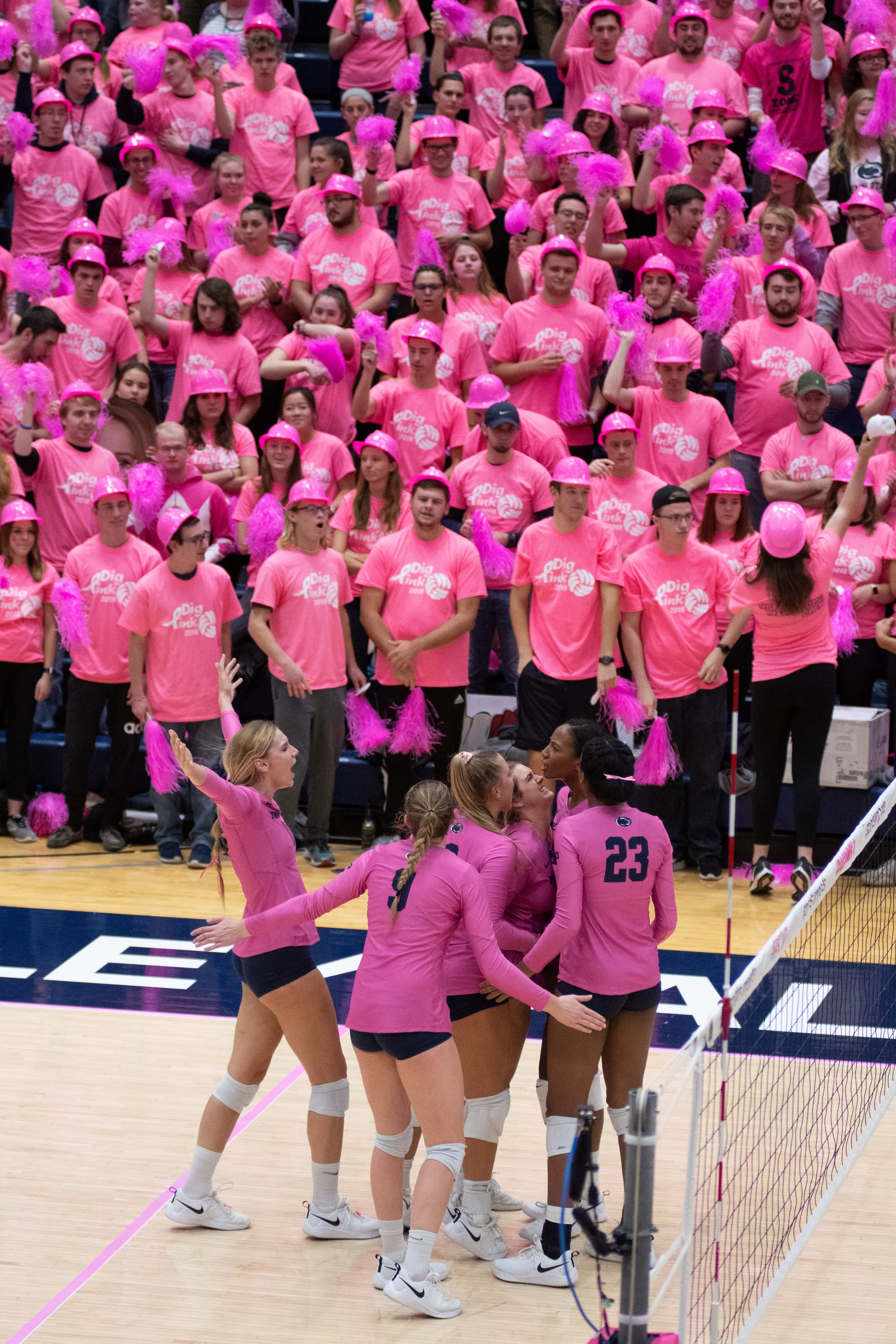 Penn State women's volleyball team celebrates after scoring during the game against Indiana at Rec Hall on Friday, Oct. 26, 2018. The Nittany Lions defeat Indiana in 3 sets. | Photo by: Noah Riffe