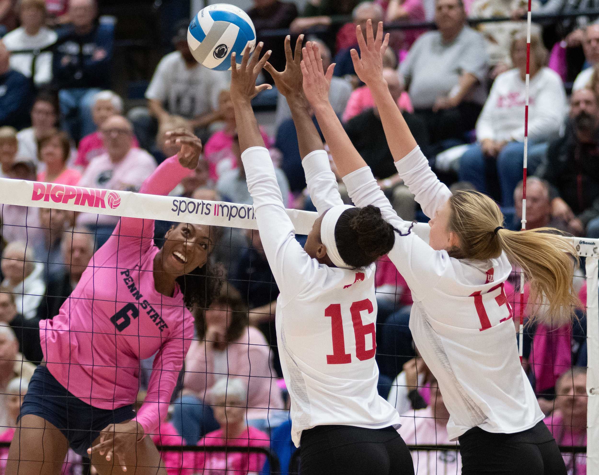 Outside hitter Nia Reed (6) spikes the ball during the game against Indiana at Rec Hall on Friday, Oct. 26, 2018. The Nittany Lions defeat Indiana in 3 sets. | Photo by: Noah Riffe