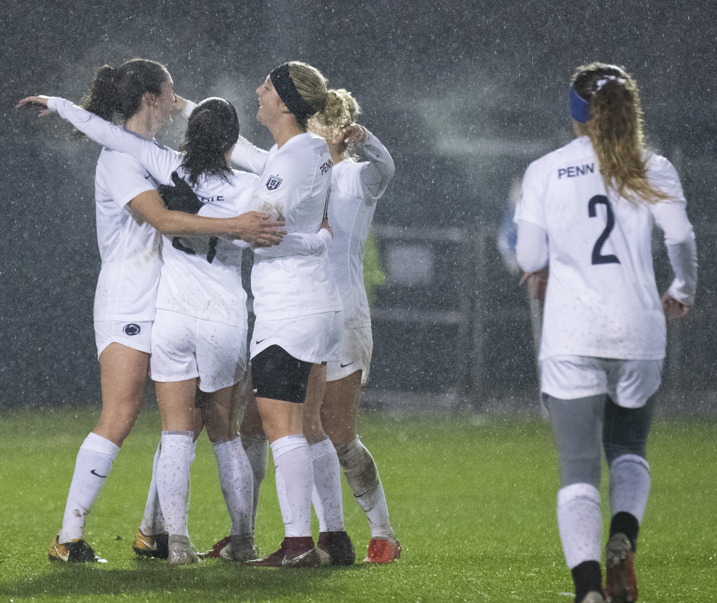 Penn State women's soccer celebrate scoring during the NCAA tournament first round game against Bowling Green at Jeffrey Field on Friday, Nov. 9, 2018. The Nittany Lions defeat Bowling Green 4-1 and advance to the second round of the NCAA Tournament. | Photo by: Noah Riffe