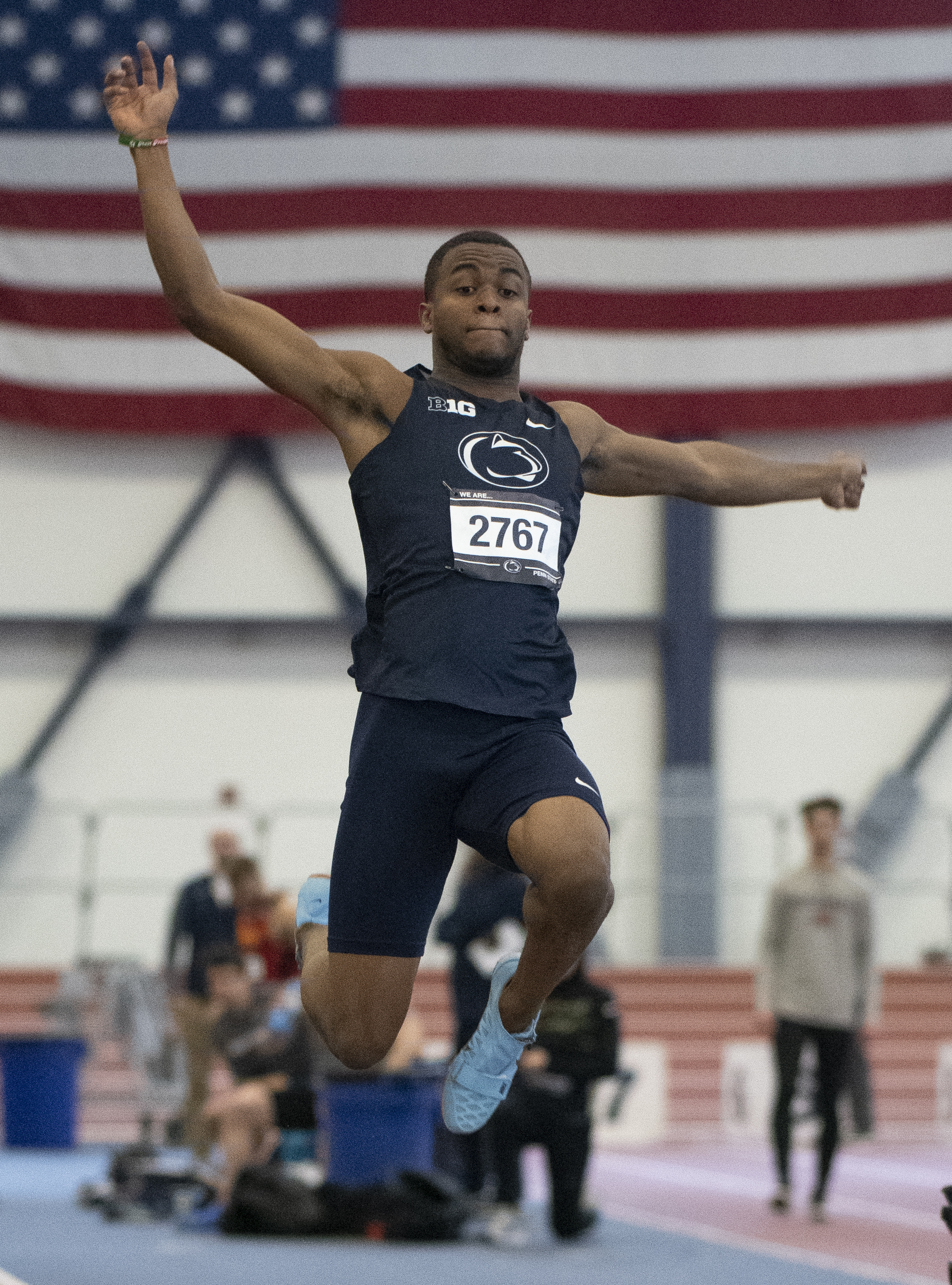 Long jumper Will Henderson jumps during the Nittany Lion Challenge at the Horace Ashenfelter III Indoor Track on Saturday, Jan. 12, 2019. - Photo by: Noah Riffe