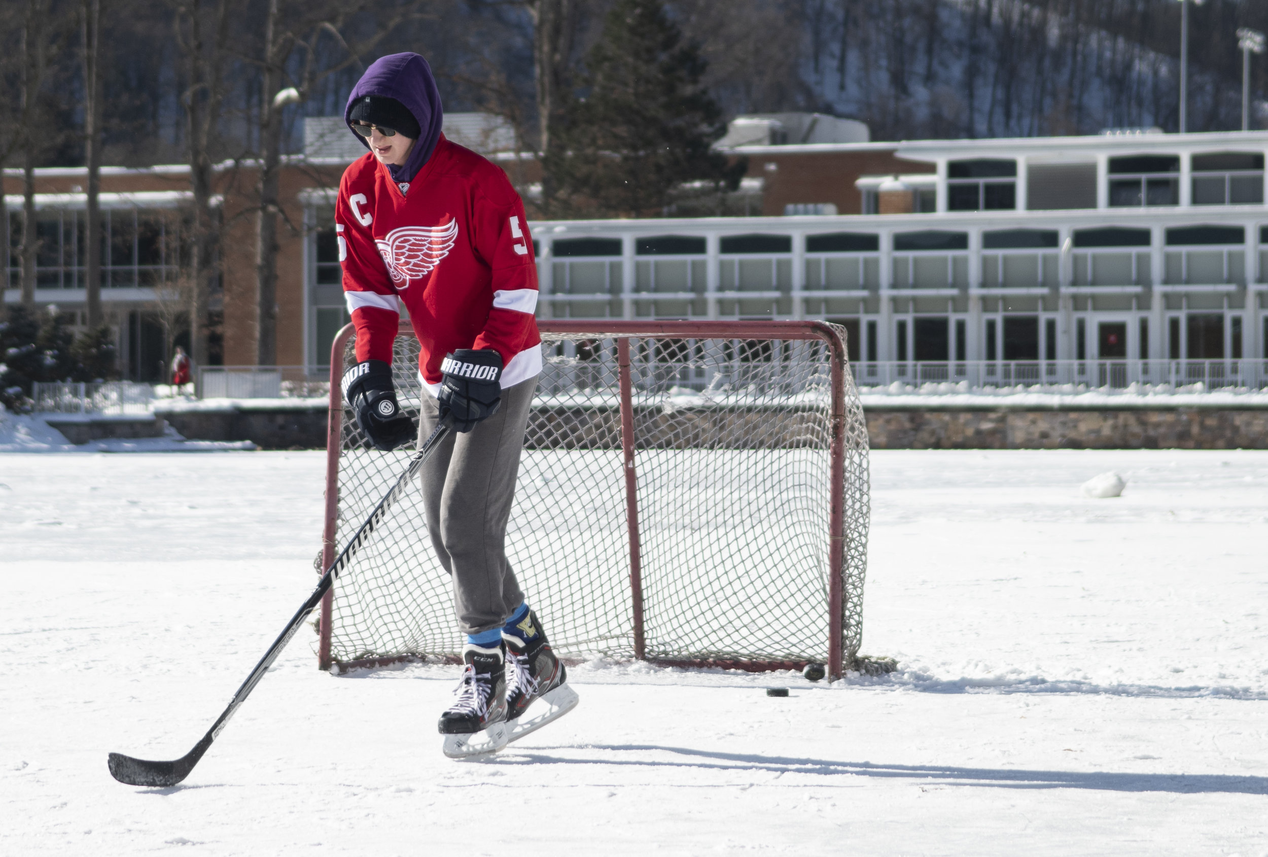 Ian Girt (freshman-information science technology) skates on the reflecting pond at Penn State Altoona on on Jan. 25, 2019.