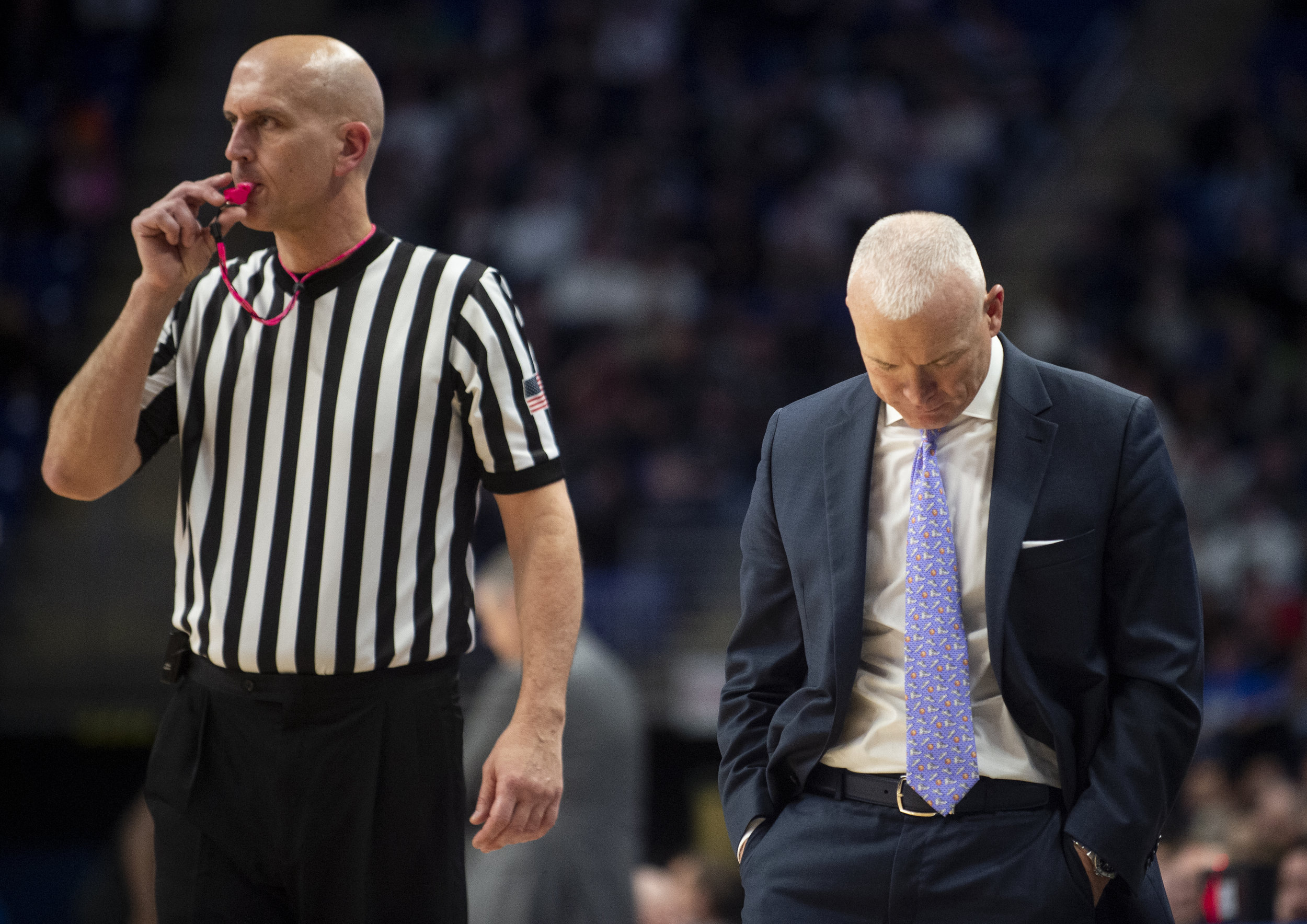 Penn State men's basketball head coach Pat Chambers shakes his head during their game against at the Bryce Jordan Center on Saturday, Jan. 26, 2019. The Nittany lions fall to Rutgers 64-60 and stay winless in conference play extending their losing streak to 9 games. | Photo by: Noah Riffe