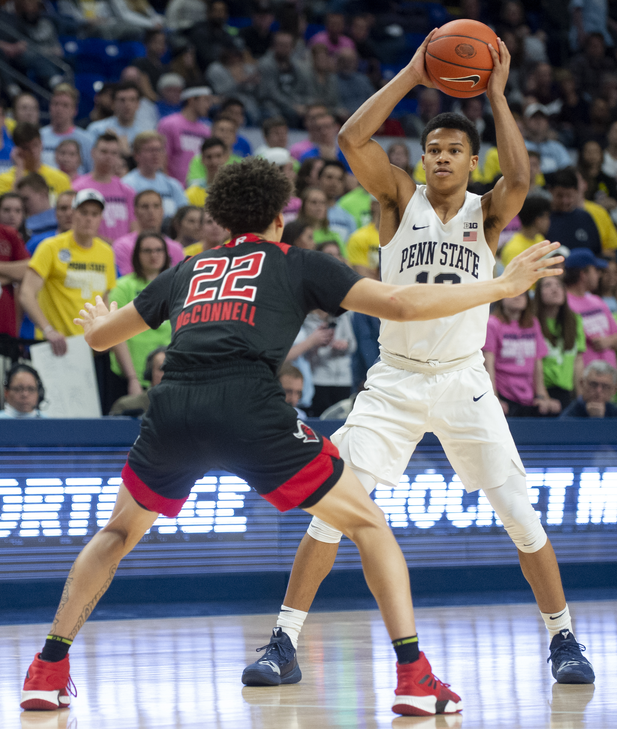 Guard Rasir Bolton (13) looks for a pass during their game against Rutgers at the Bryce Jordan Center on Saturday, Jan. 26, 2019. The Nittany Lions fall to Rutgers 64-60 and stay winless in conference play extending their losing streak to 7 games.