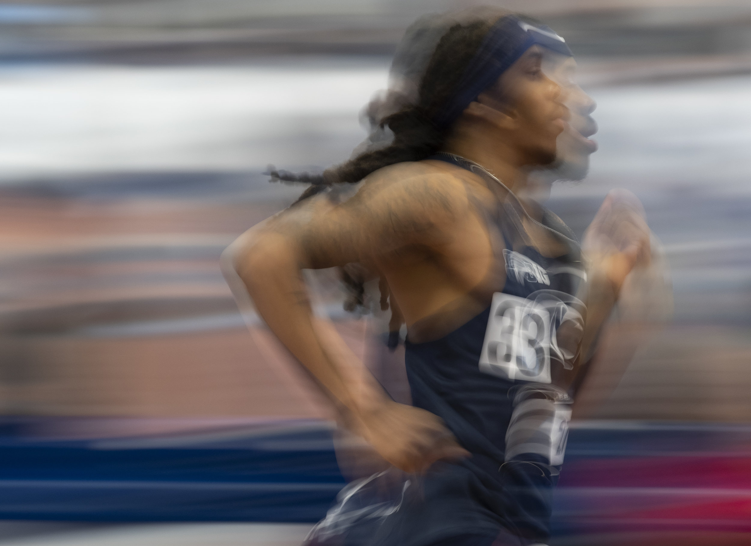 Runner Gary Ross runs in the 600 meter race during the Nittany Lion Challenge at the Horace Ashenfelter III Indoor Track on Saturday, Jan. 12, 2019.