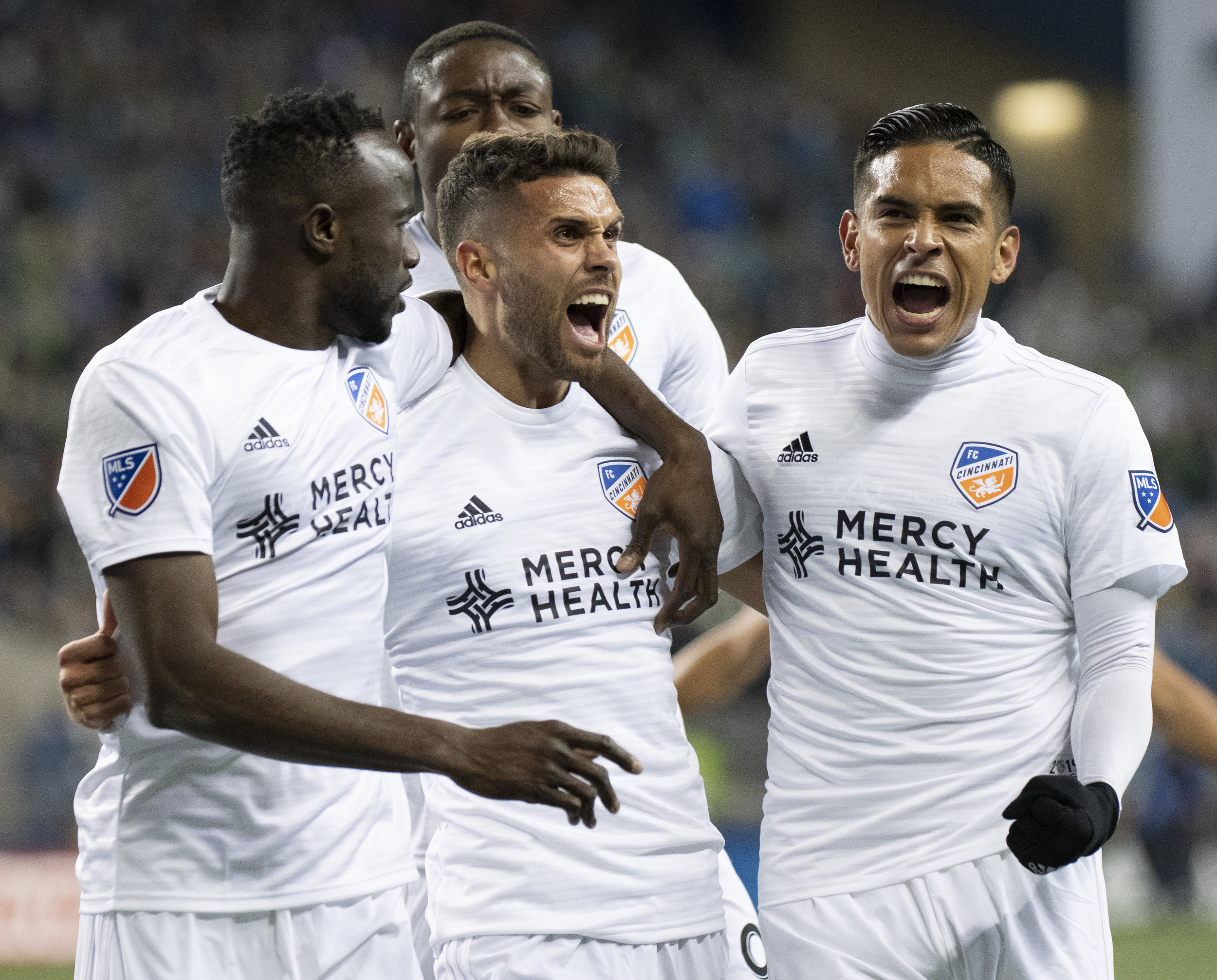Midfielder Leonardo Bertone (6) Celebrates after scoring FC Cincinnati's first MLS goal during their match on Saturday, March 2, 2019 at CenturyLink Field in Seattle, Washington. | Photo by: Noah Riffe