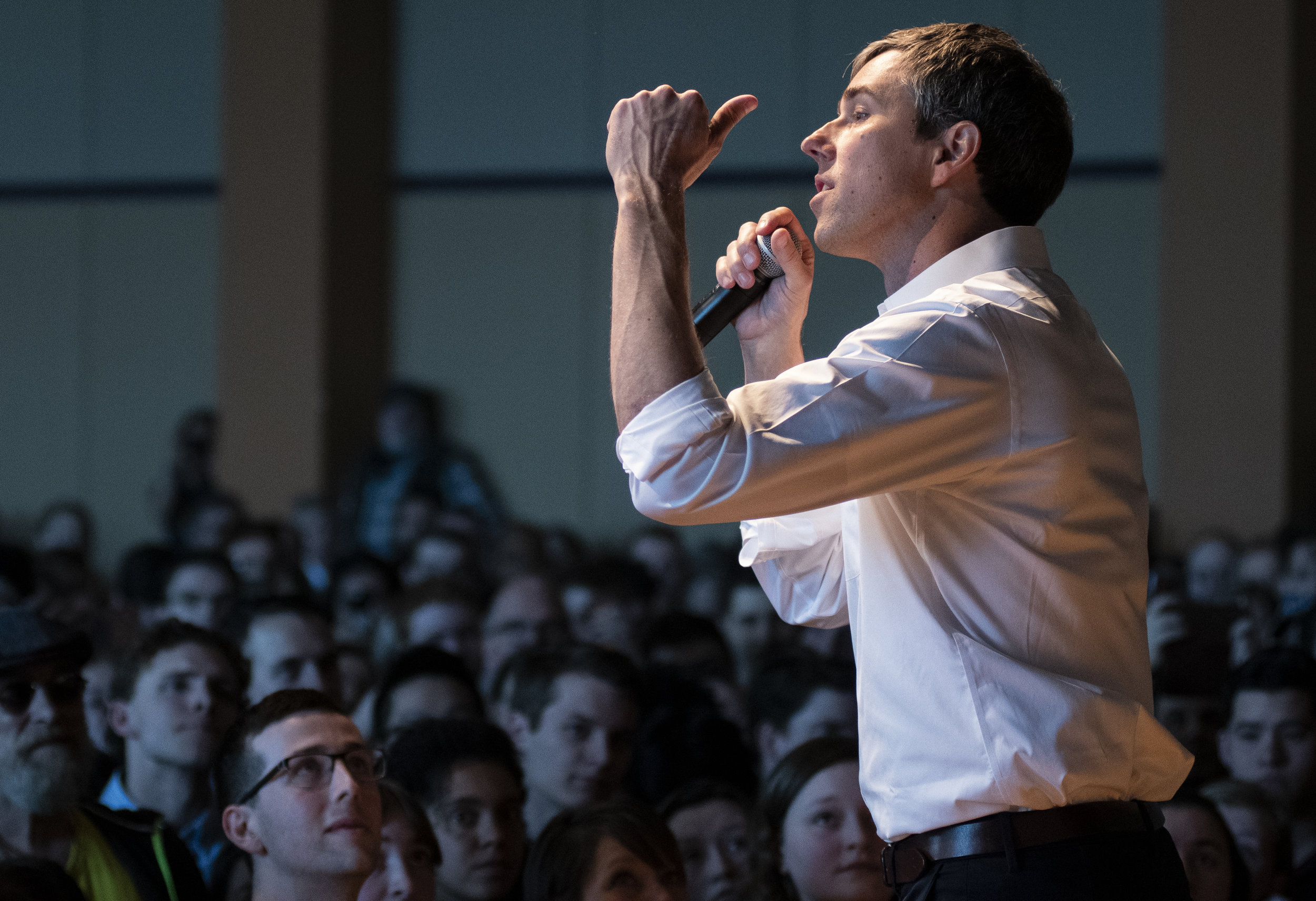 Democratic presidential candidate Beto O'Rourke speaks to a crowd in Heritage Hall during his meet and greet on Tuesday, March 19, 2019 at the HUB Building at Penn State University. | Photo by: Noah Riffe