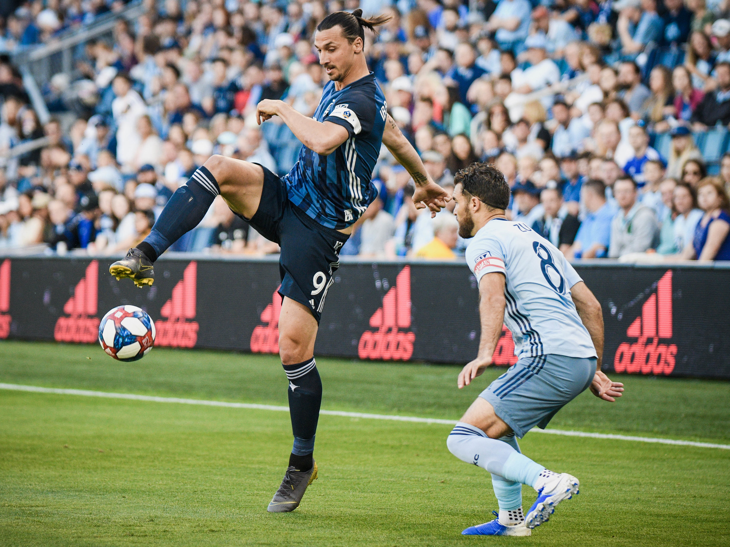 LA Galaxy striker Zlatan Ibrahimovic (9) controls the ball during the game against Sporting KC on Wednesday, May 29, 2019 at Children's Mercy Park in Kansas City, Kansas. Sporting fell to the Galaxy 2-0.