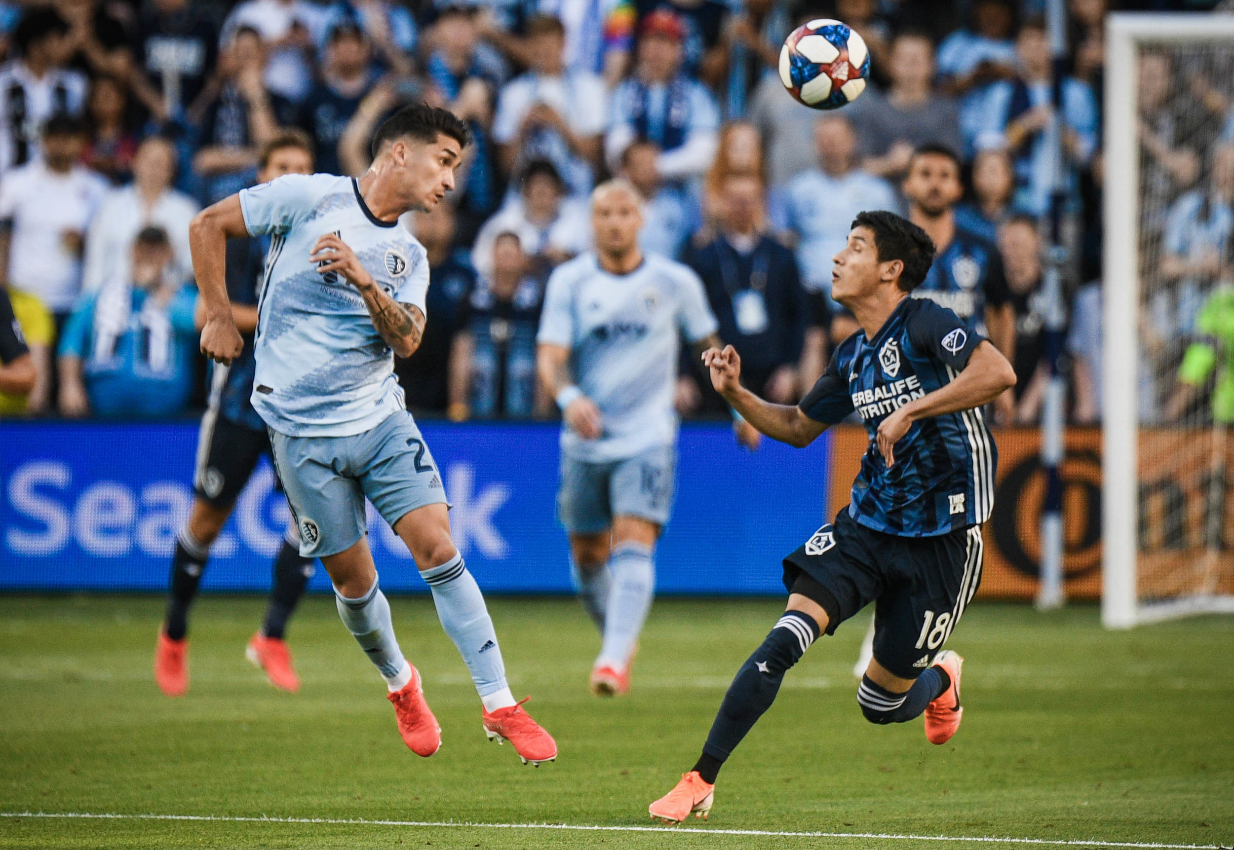 Felipe Gutiérrez (21) heads the ball during the game against LA Galaxy on Wednesday, May 29, 2019 at Children's Mercy Park in Kansas City, Kansas. Sporting fell to the Galaxy 2-0.