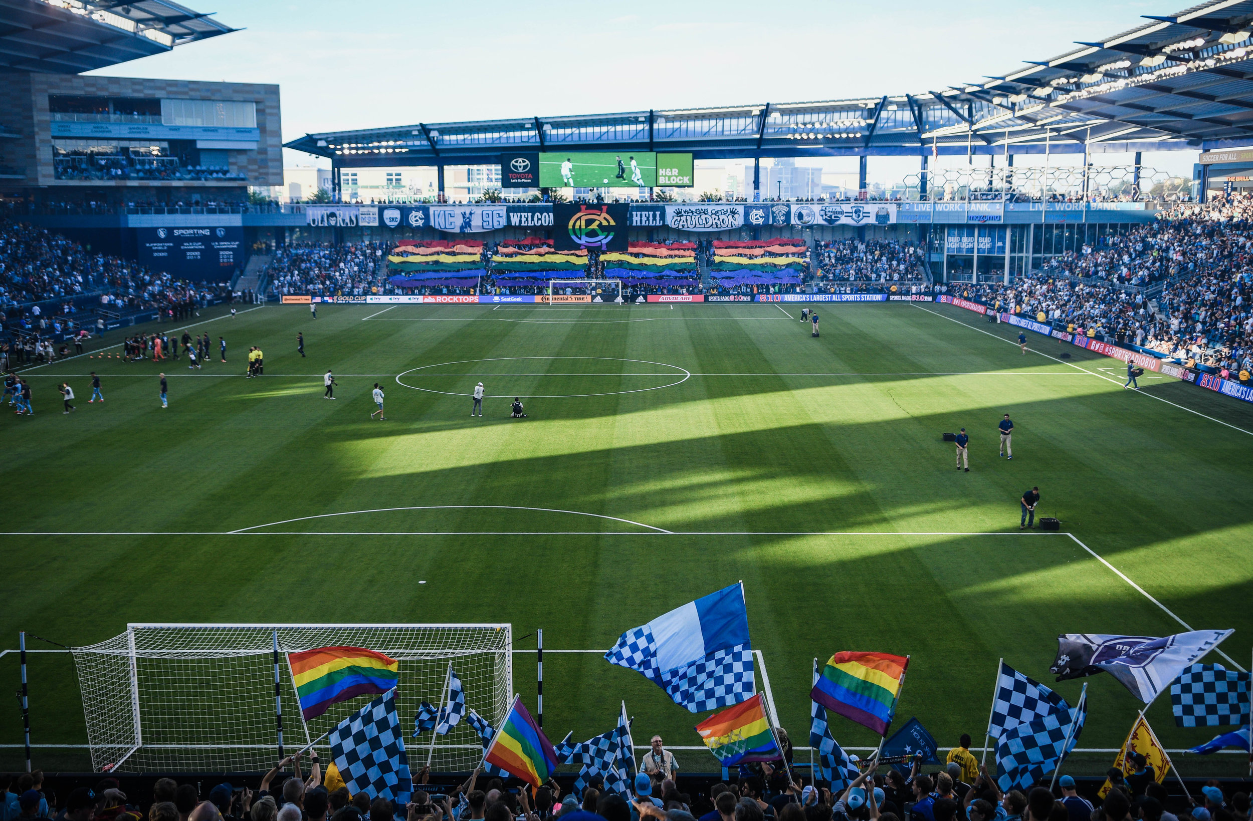 Kansas City Cauldron, Sporting KC's independent supporters group, displays a TIFO during the game against LA Galaxy on Wednesday, May 29, 2019 at Children's Mercy Park in Kansas City, Kansas. Sporting fell to the Galaxy 2-0.